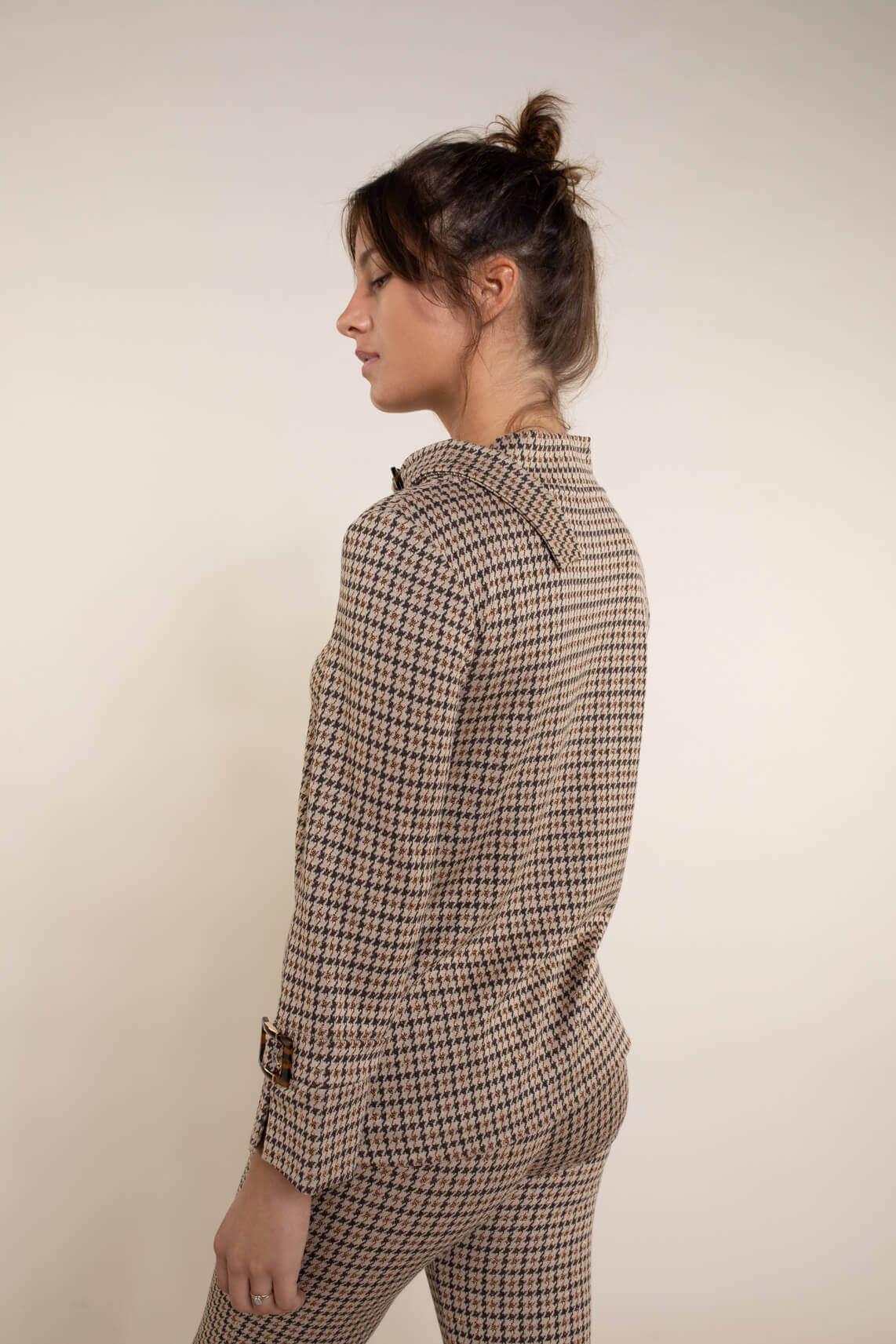 Ana Alcazar Dames Pied-de-poule shirt Bruin