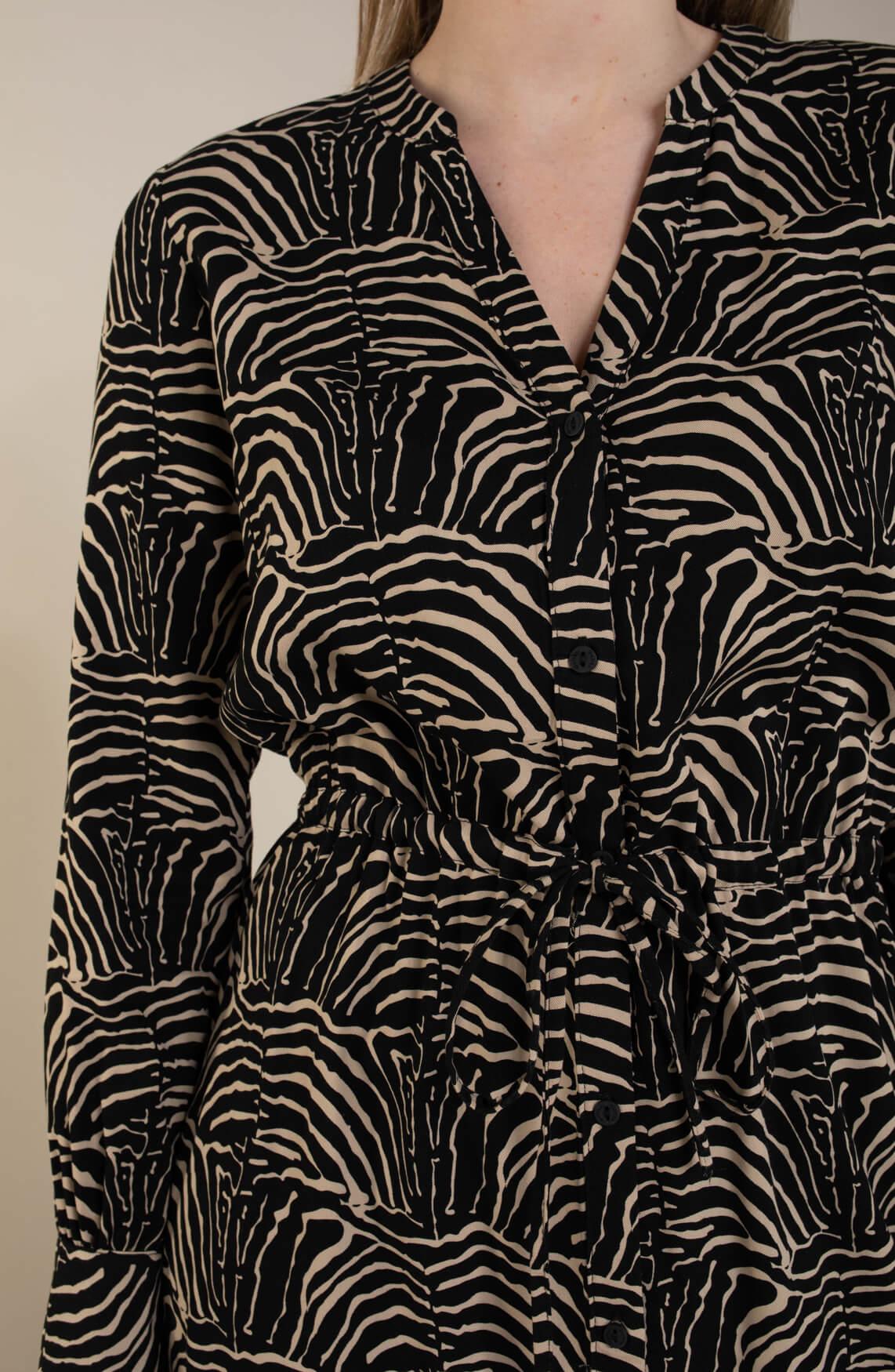 Geisha Dames Jurk zebra print zwart