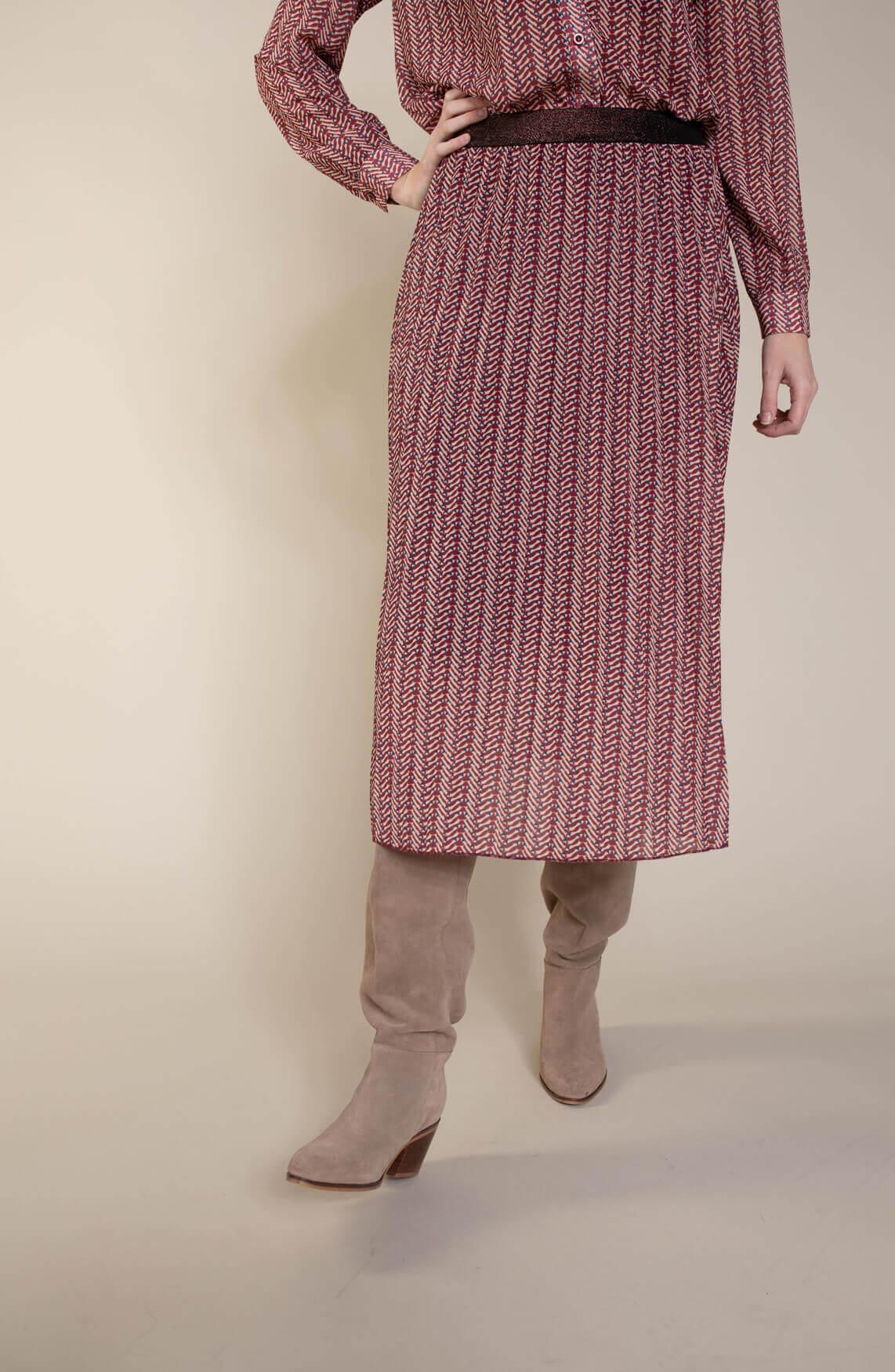 Geisha Dames Plissé rok met print roze