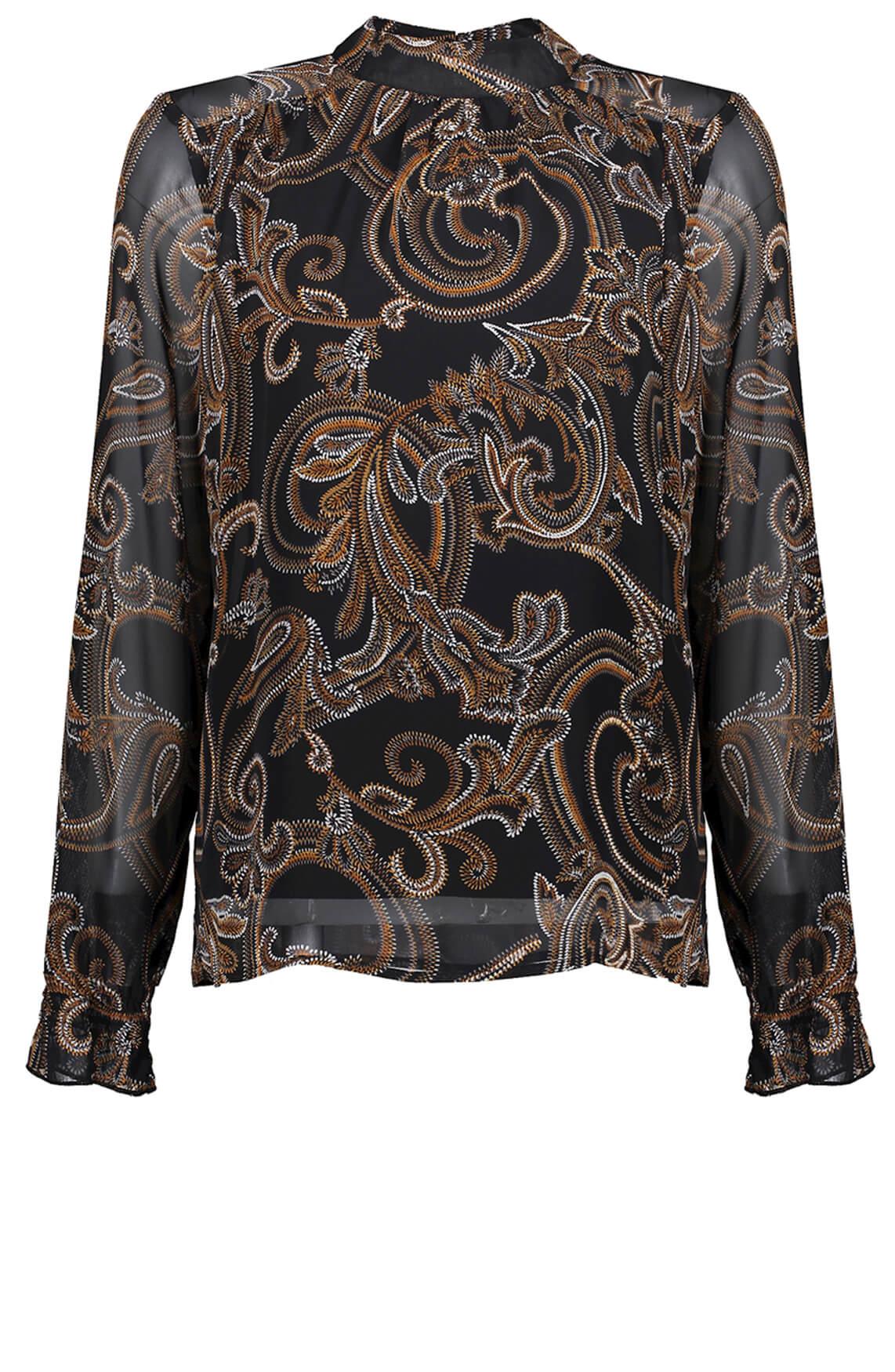 Geisha Dames Paisley blouse zwart