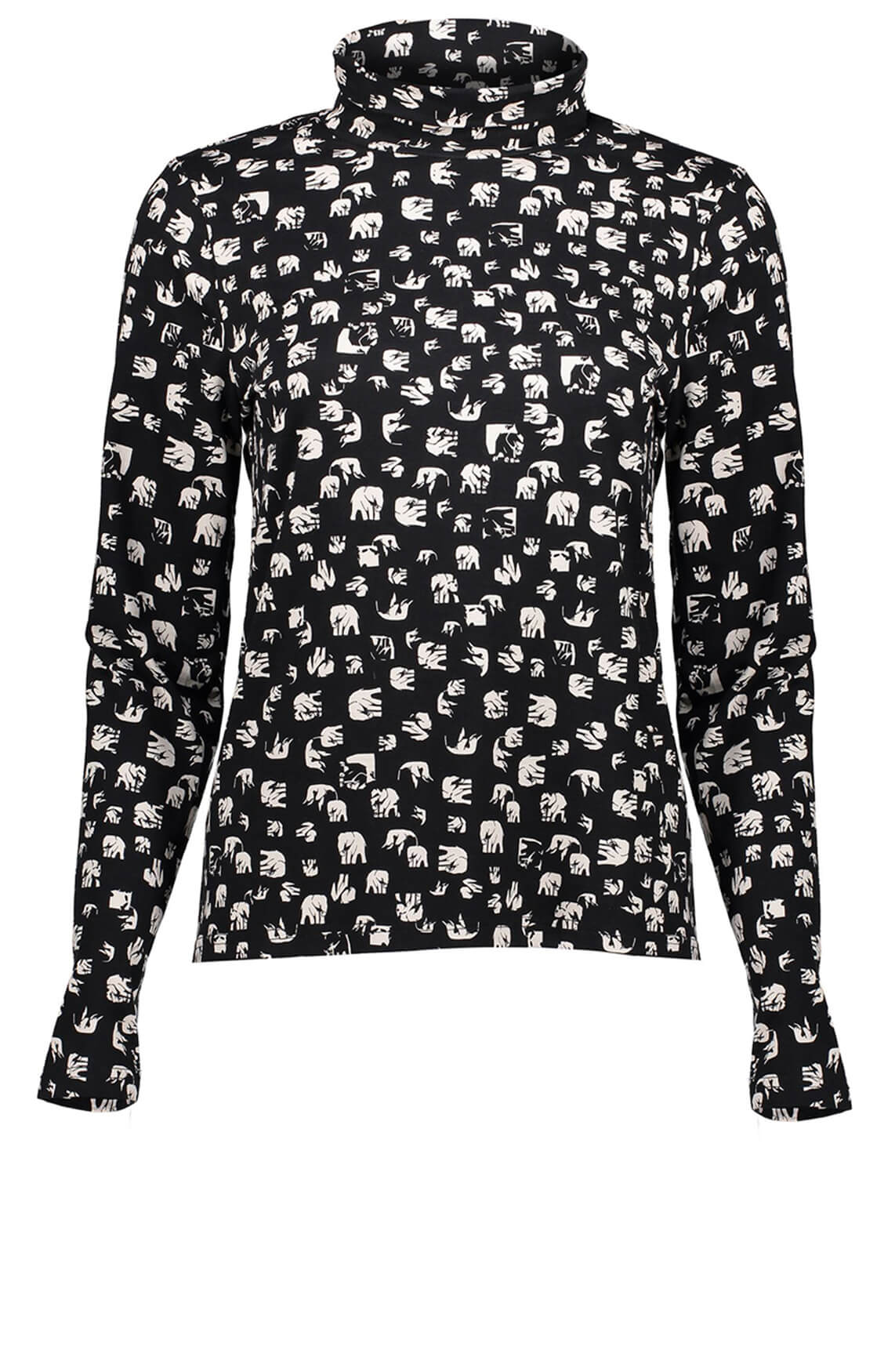 Geisha Dames Shirt met olifantprint zwart