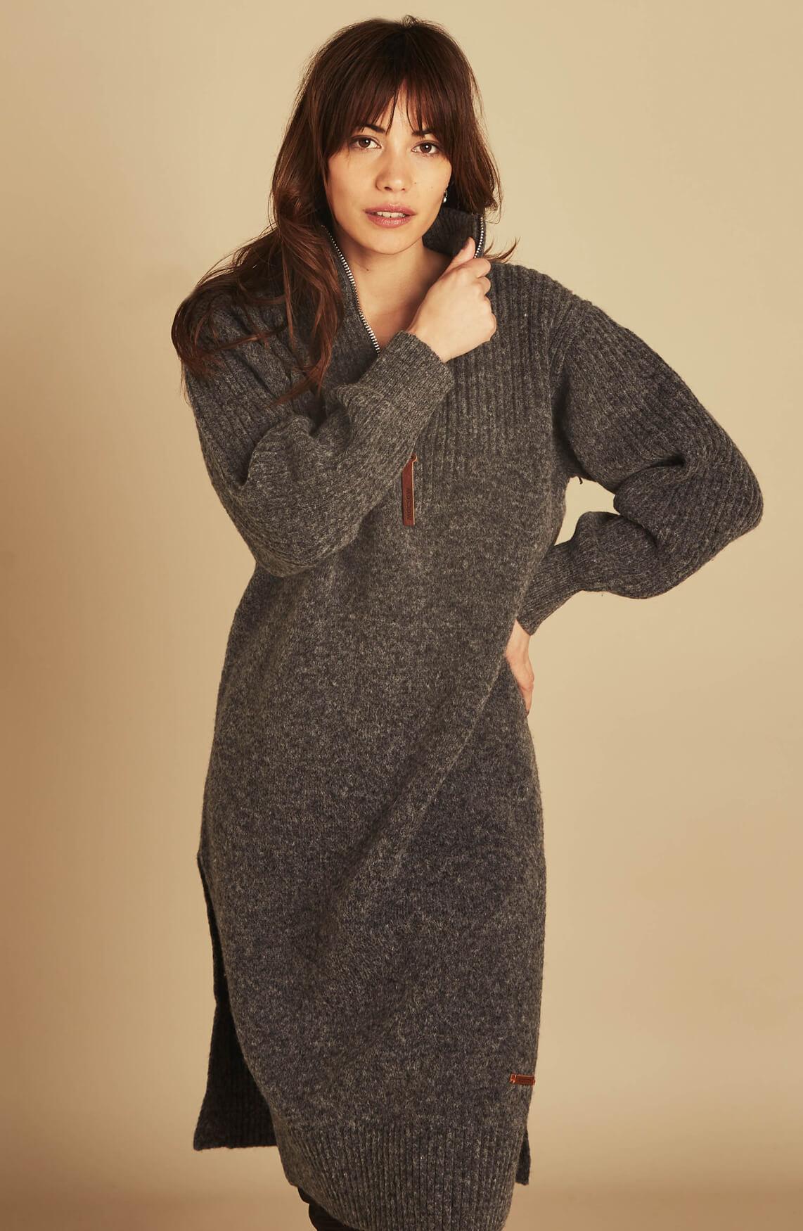 Moscow Dames Kirana jurk met wol Grijs
