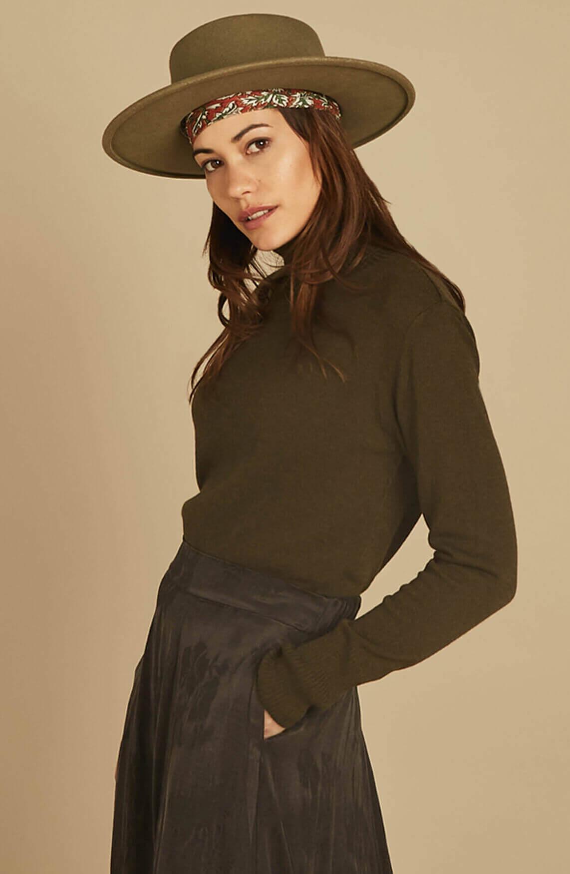 Moscow Dames Miroslava pullover met col groen
