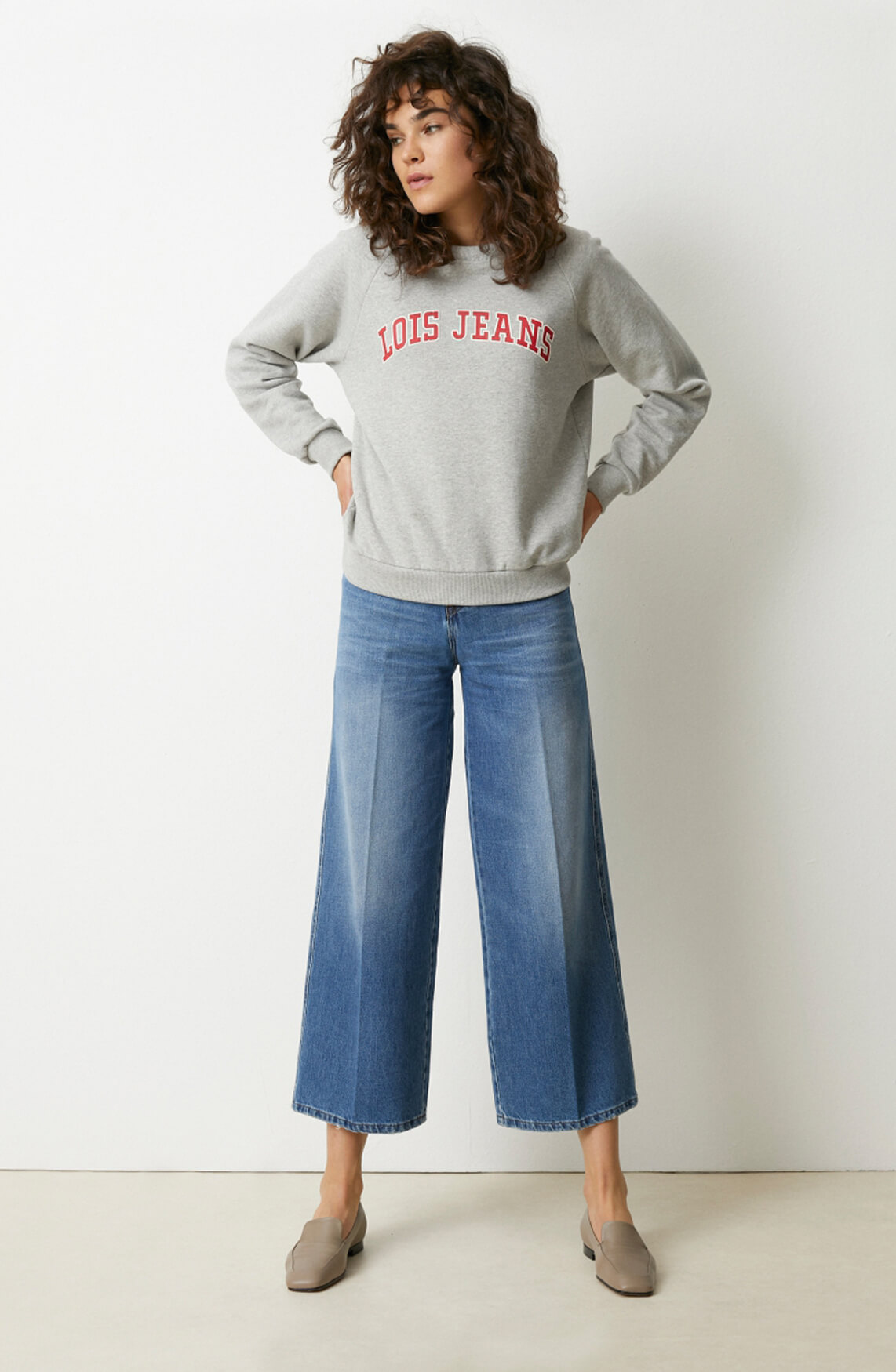 Lois Dames Ranglan sweater Grijs