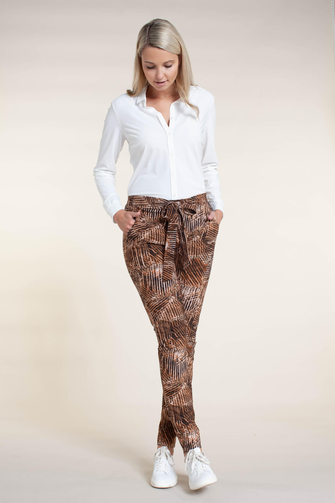 Anna Dames Jersey sensitive pantalon Bruin