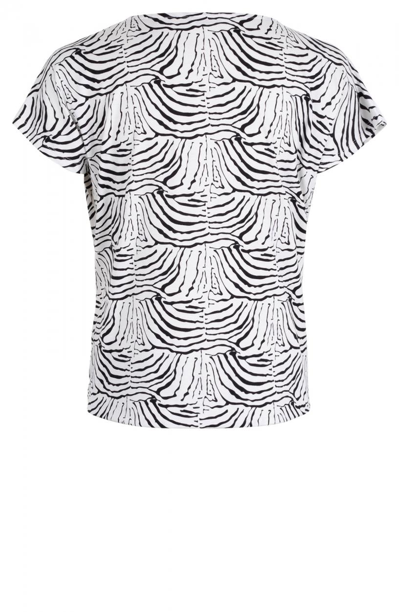 Anna Dames Animal knoopshirt Wit