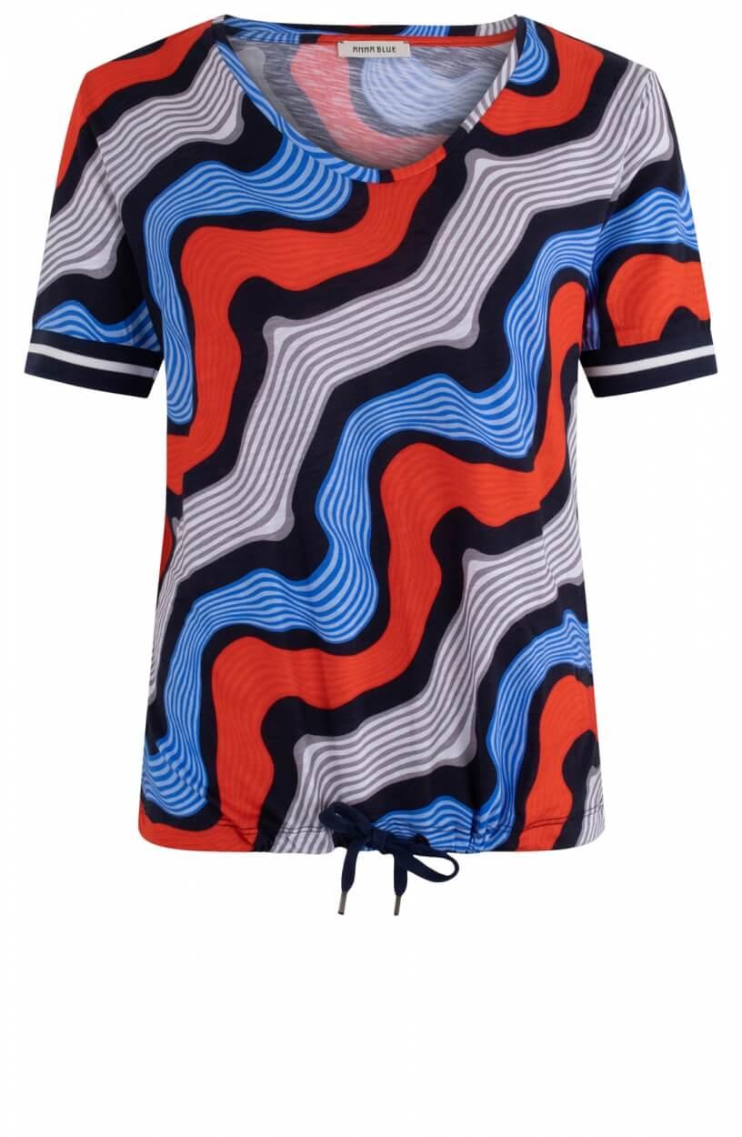 Anna Blue Dames Shirt met dessin Oranje