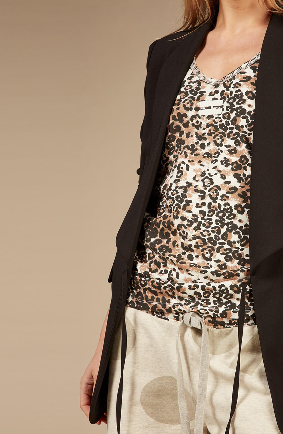 10 Days Dames Leopard top Bruin