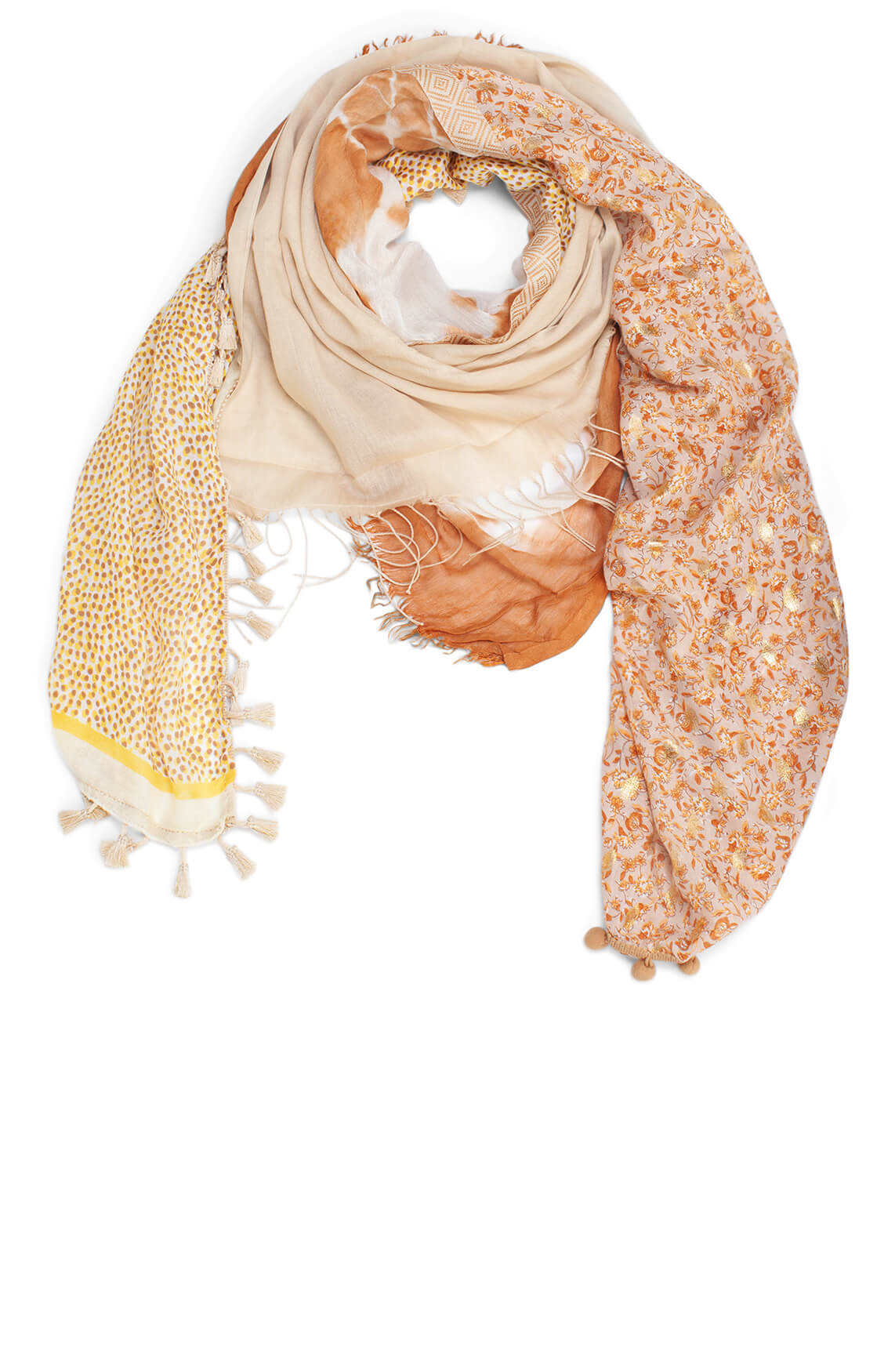 Zo Dames Patchwork shawl Bruin