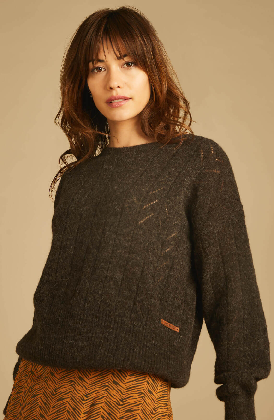Moscow Dames Manya ajour pullover Bruin