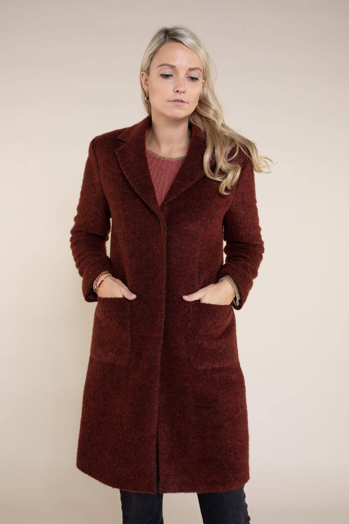 Anna Dames Wollen mantel Rood