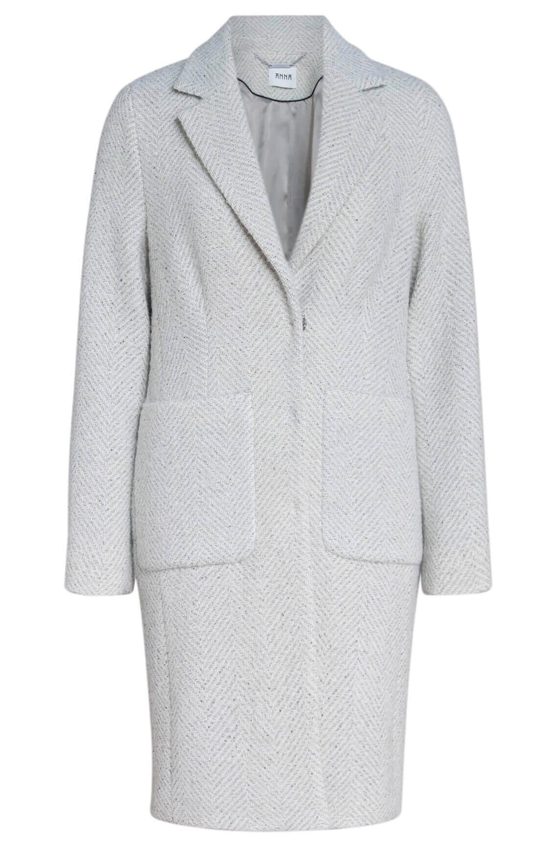 Anna Dames Gemêleerde mantel wit