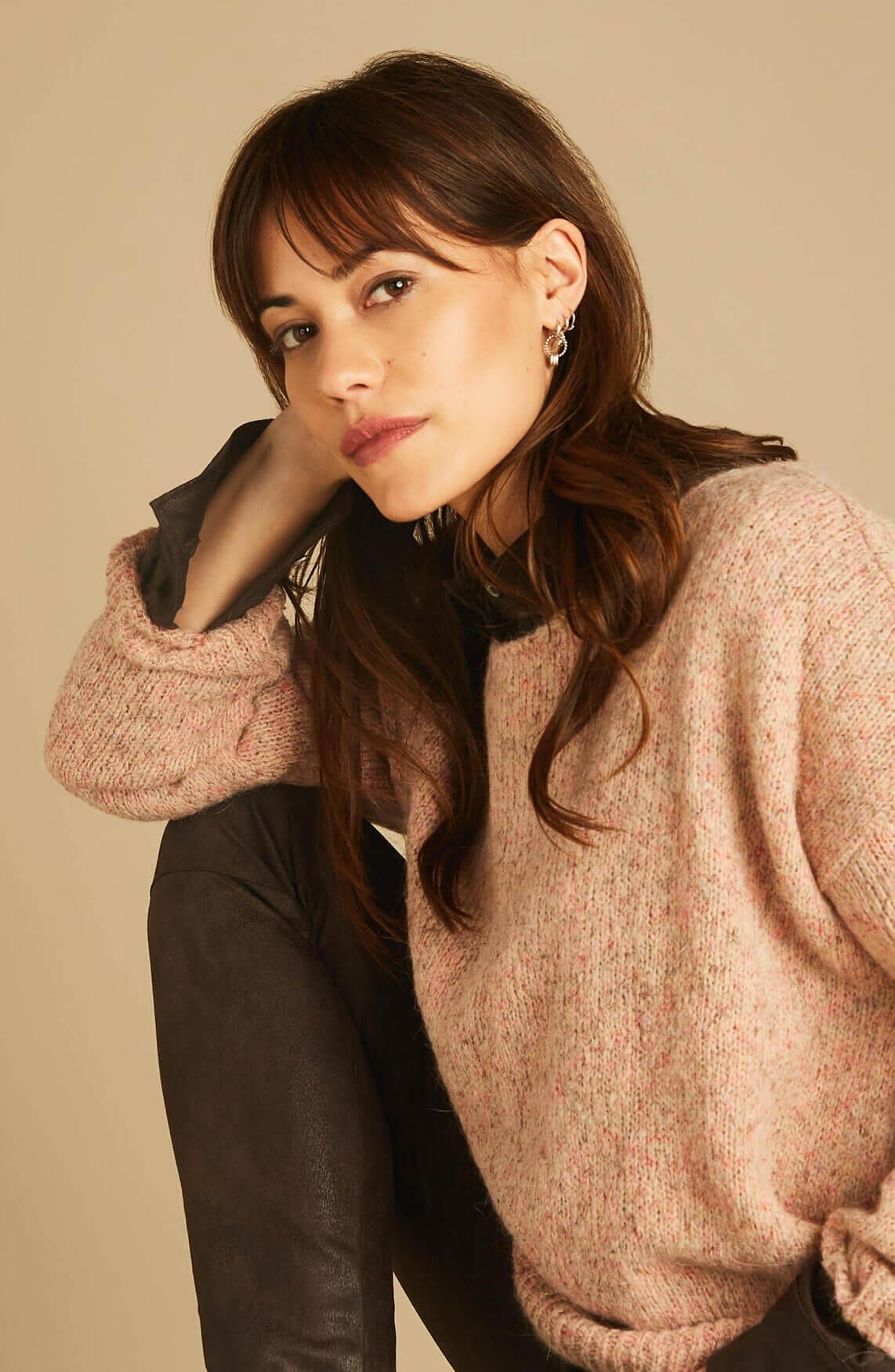 Moscow Dames Ilona imitatieleren blouse Bruin