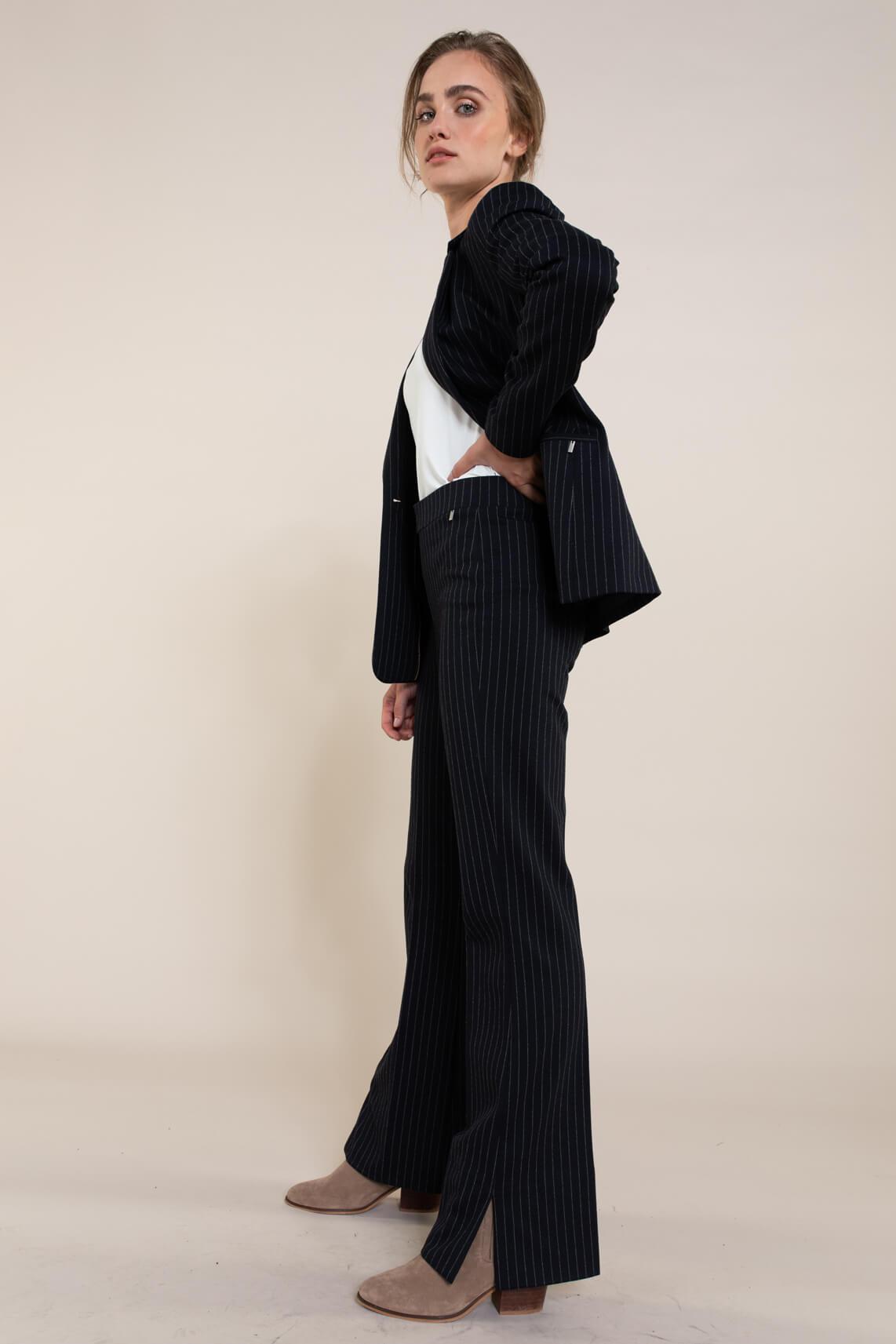 Anna Dames Blazer met krijtstreep Blauw