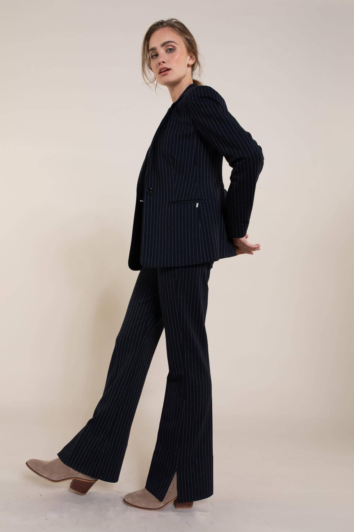 Anna Dames Pantalon met krijtstreep Blauw