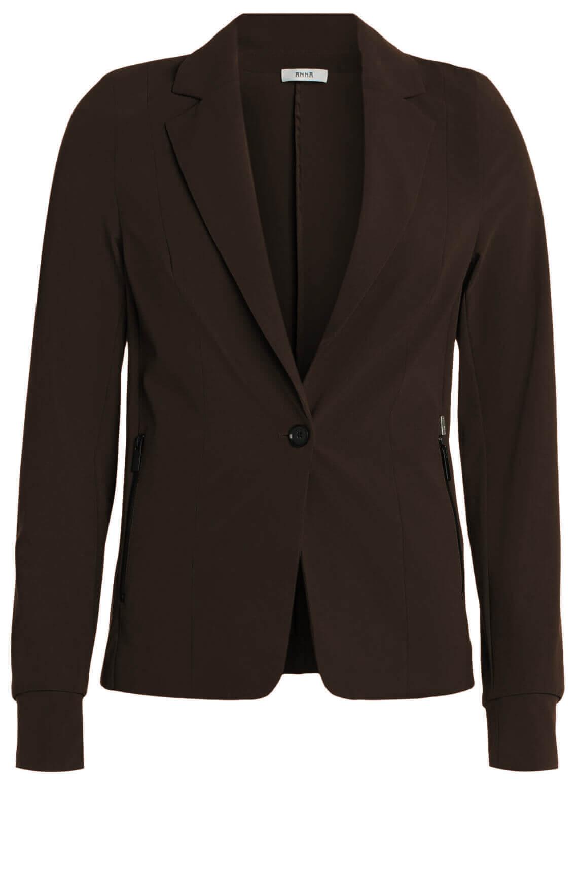 Anna Dames Jersey sensitive blazer Bruin