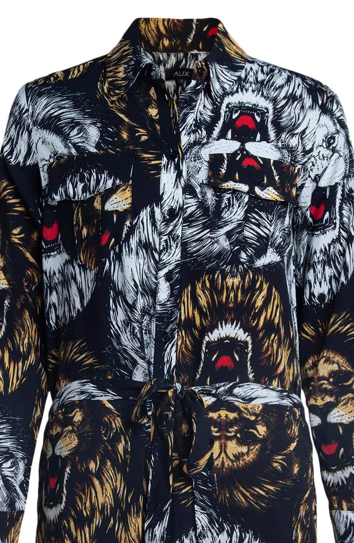 Alix The Label Dames Lion blousejurk zwart