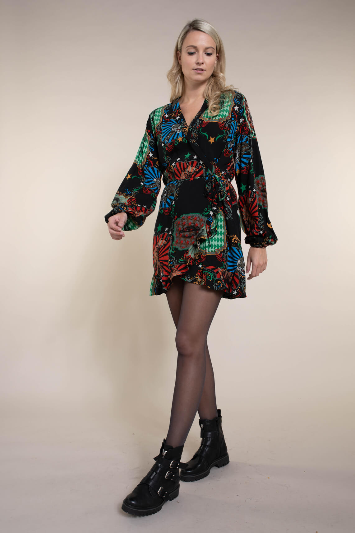Alix The Label Dames Circus overslag jurk Blauw