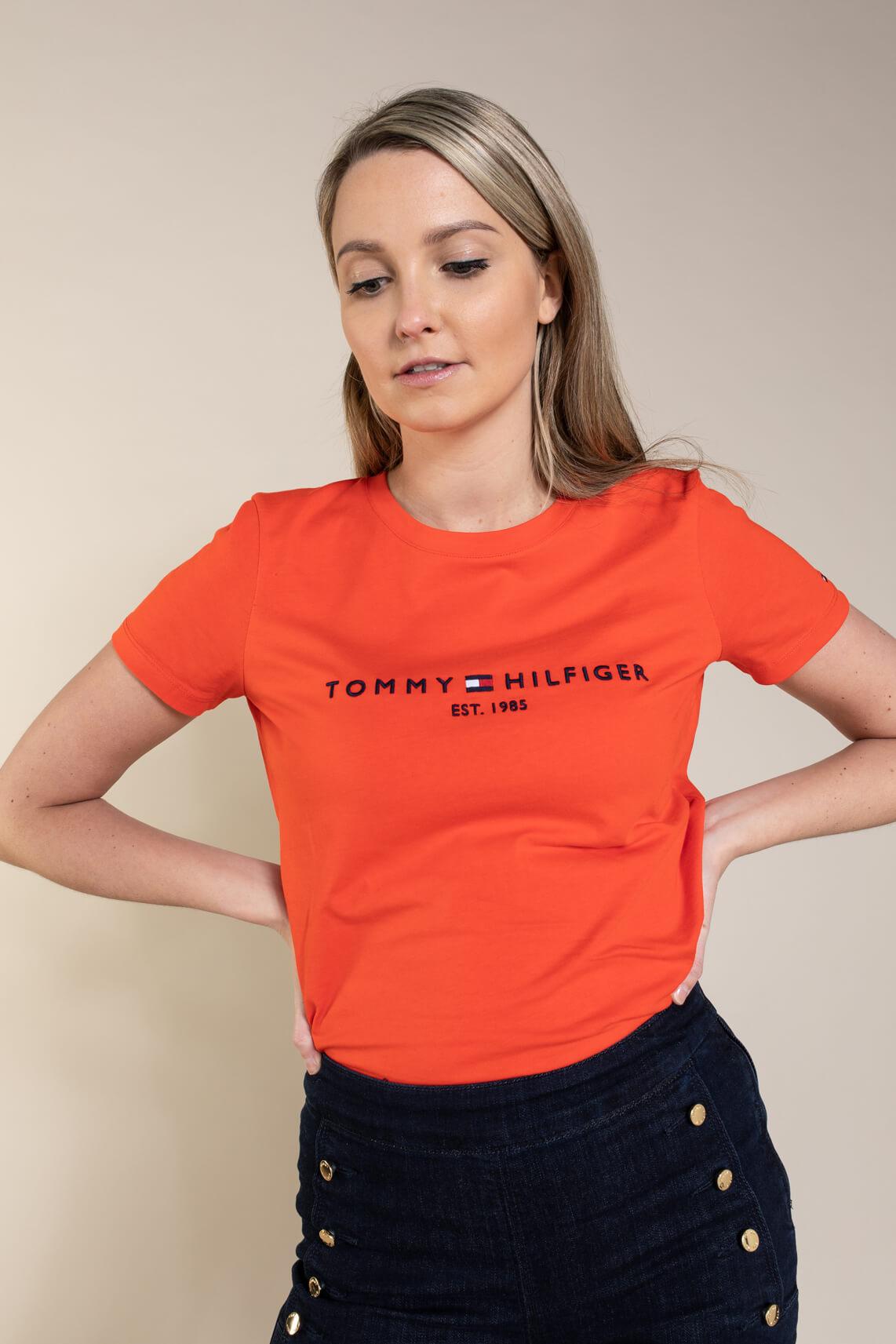 Tommy Hilfiger Dames Shirt met logo Oranje