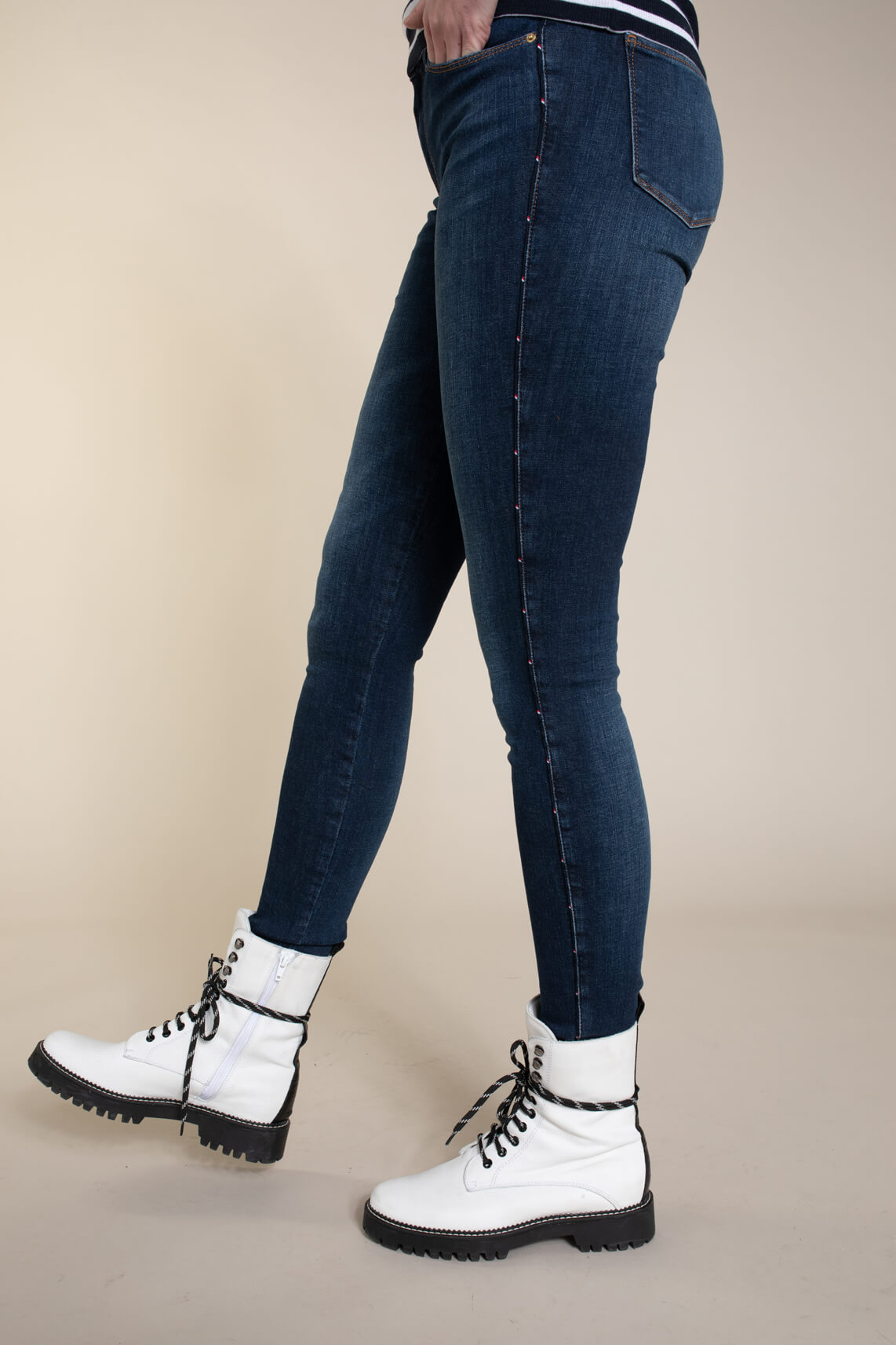 Tommy Hilfiger Dames Jeans met logo bies Blauw