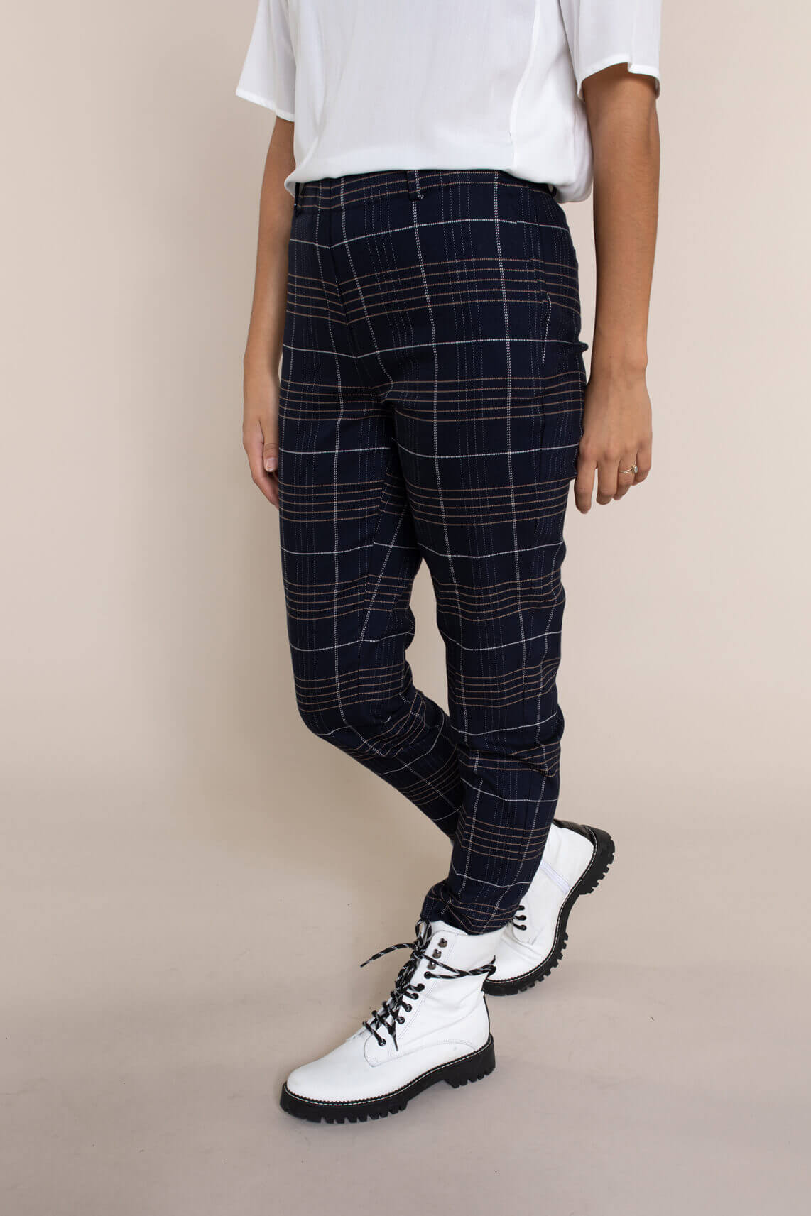 Marc O'Polo Dames Geruite pantalon Blauw