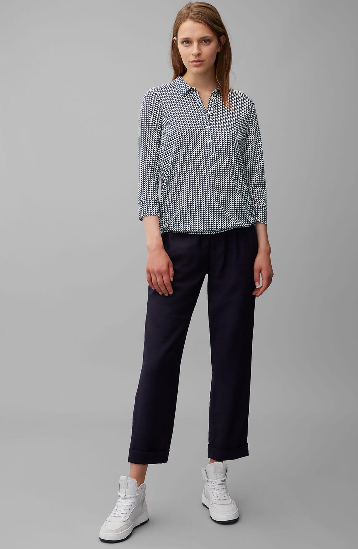 Marc O'Polo Dames Grafische blouse Blauw