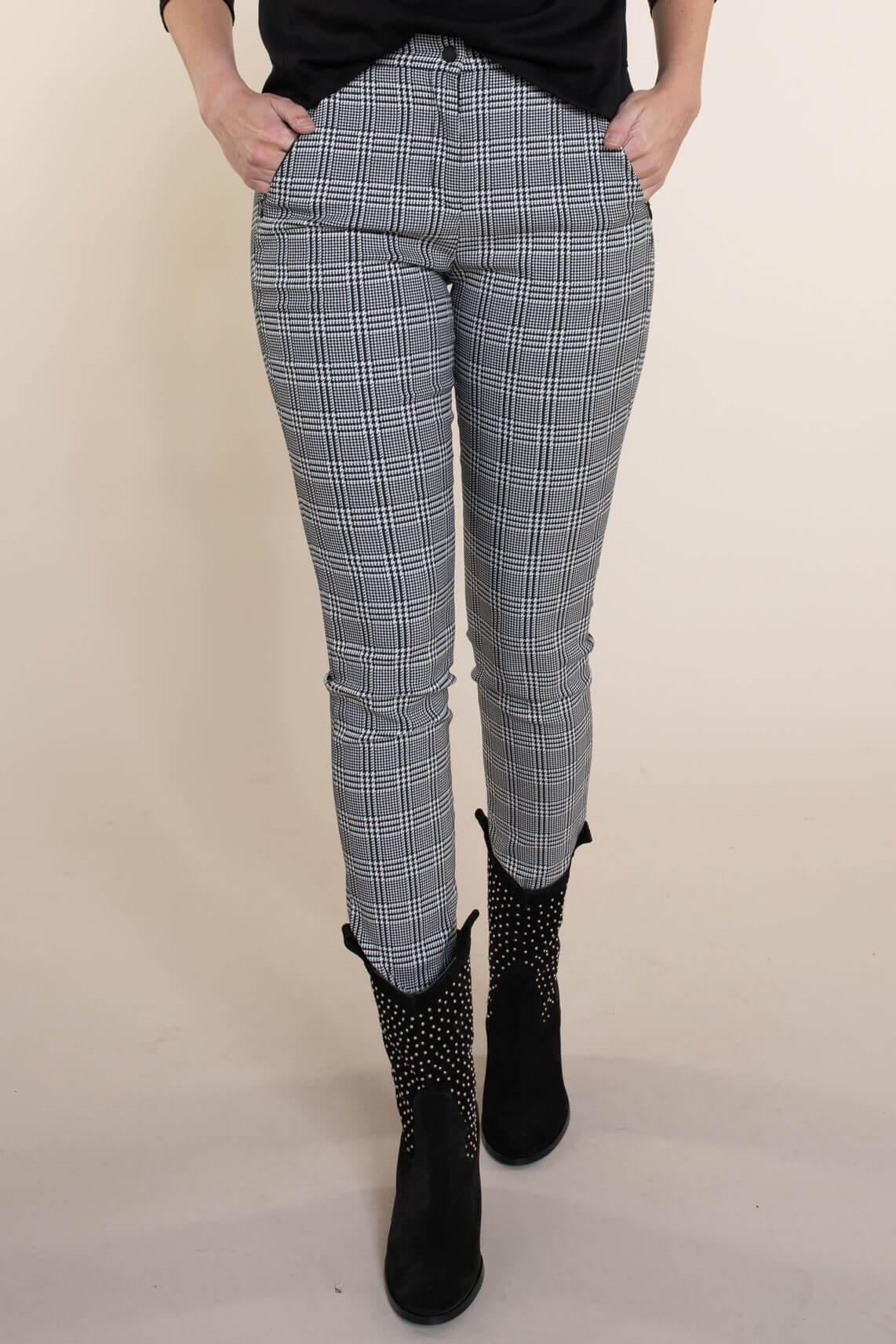 Brax Dames Mills geruite broek zwart