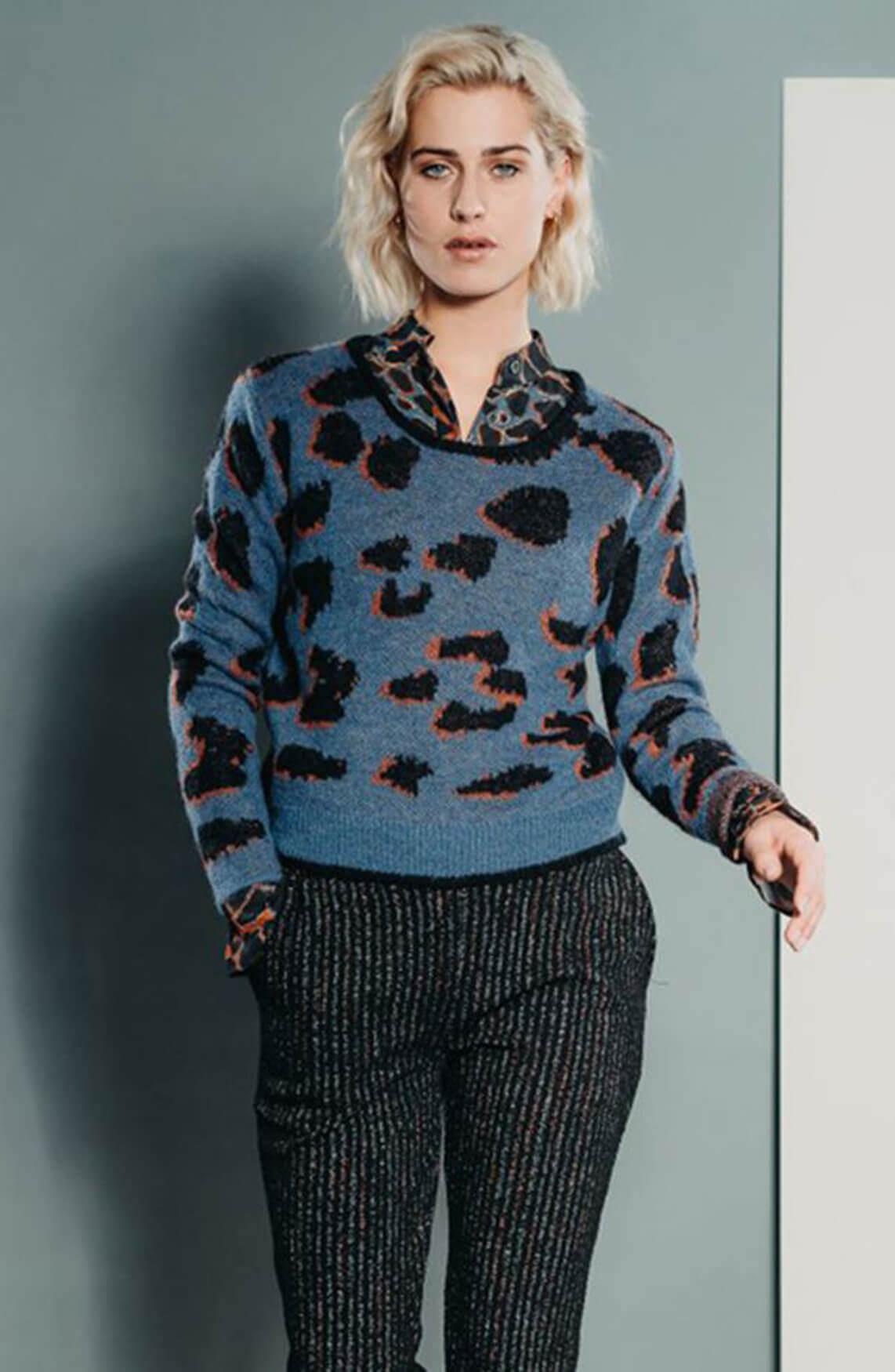 Poools Dames Leopard trui Blauw