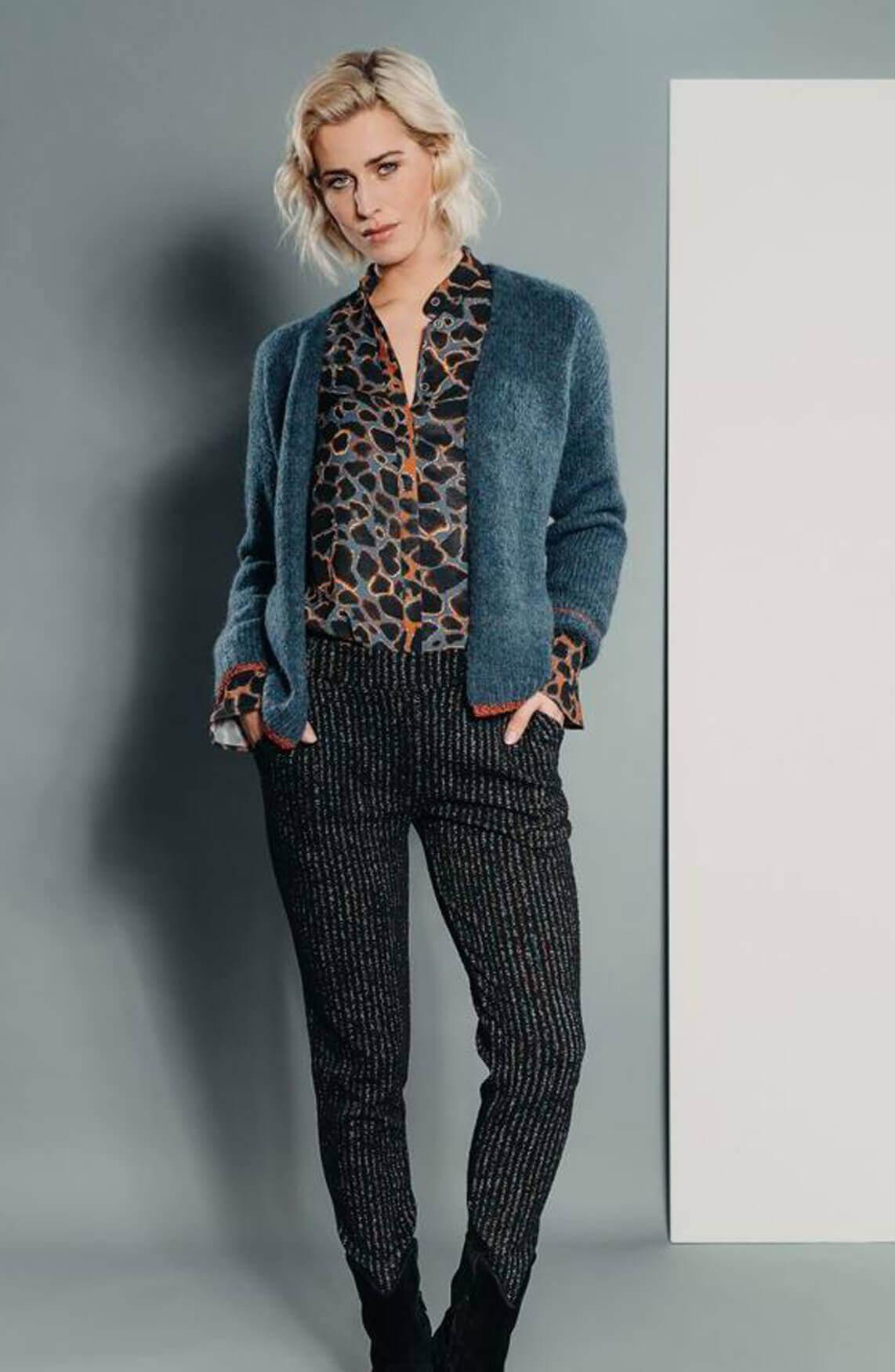 Poools Dames Leopard blouse Blauw