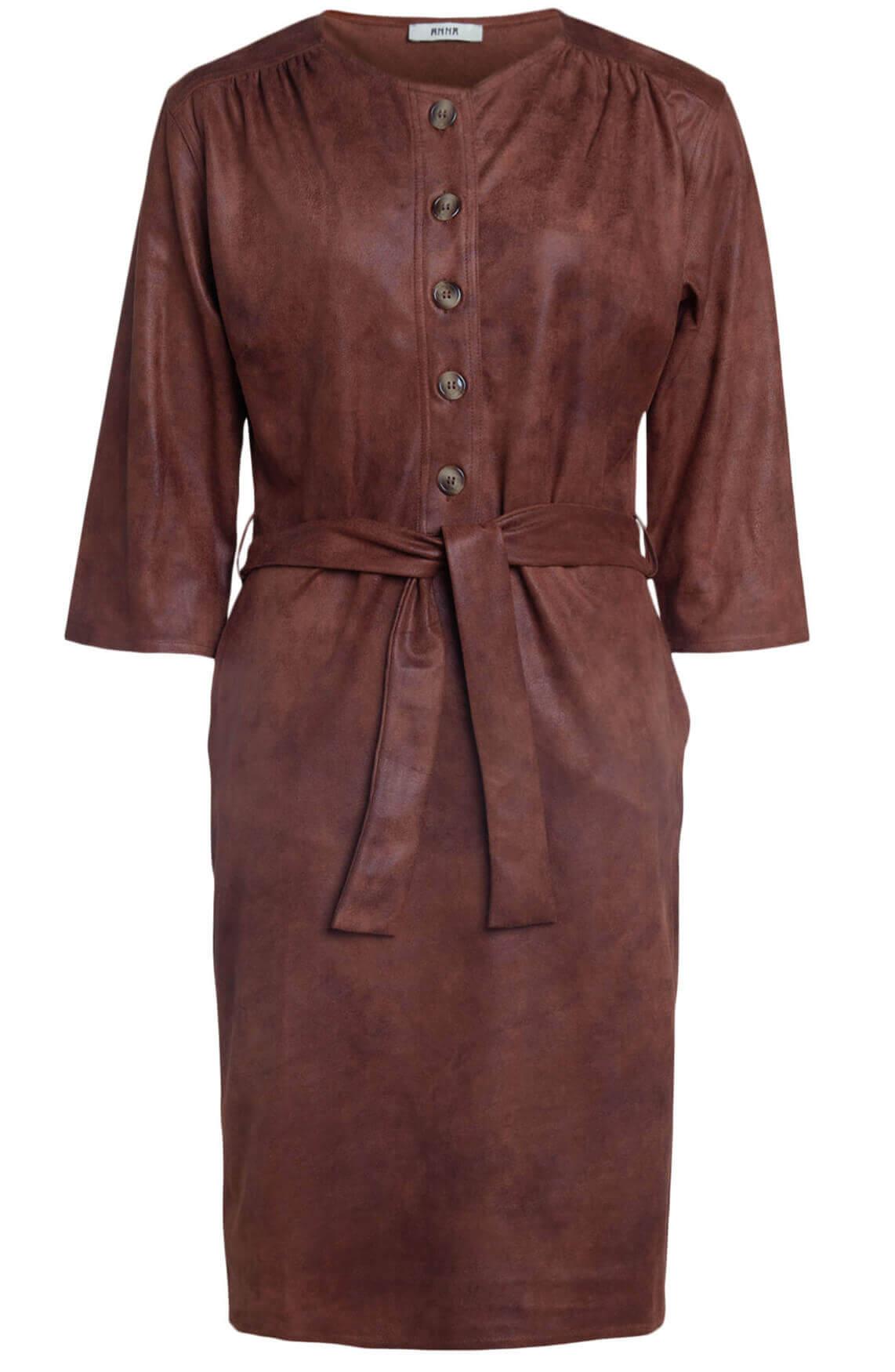 Anna Dames Suède jurk met knopen Bruin