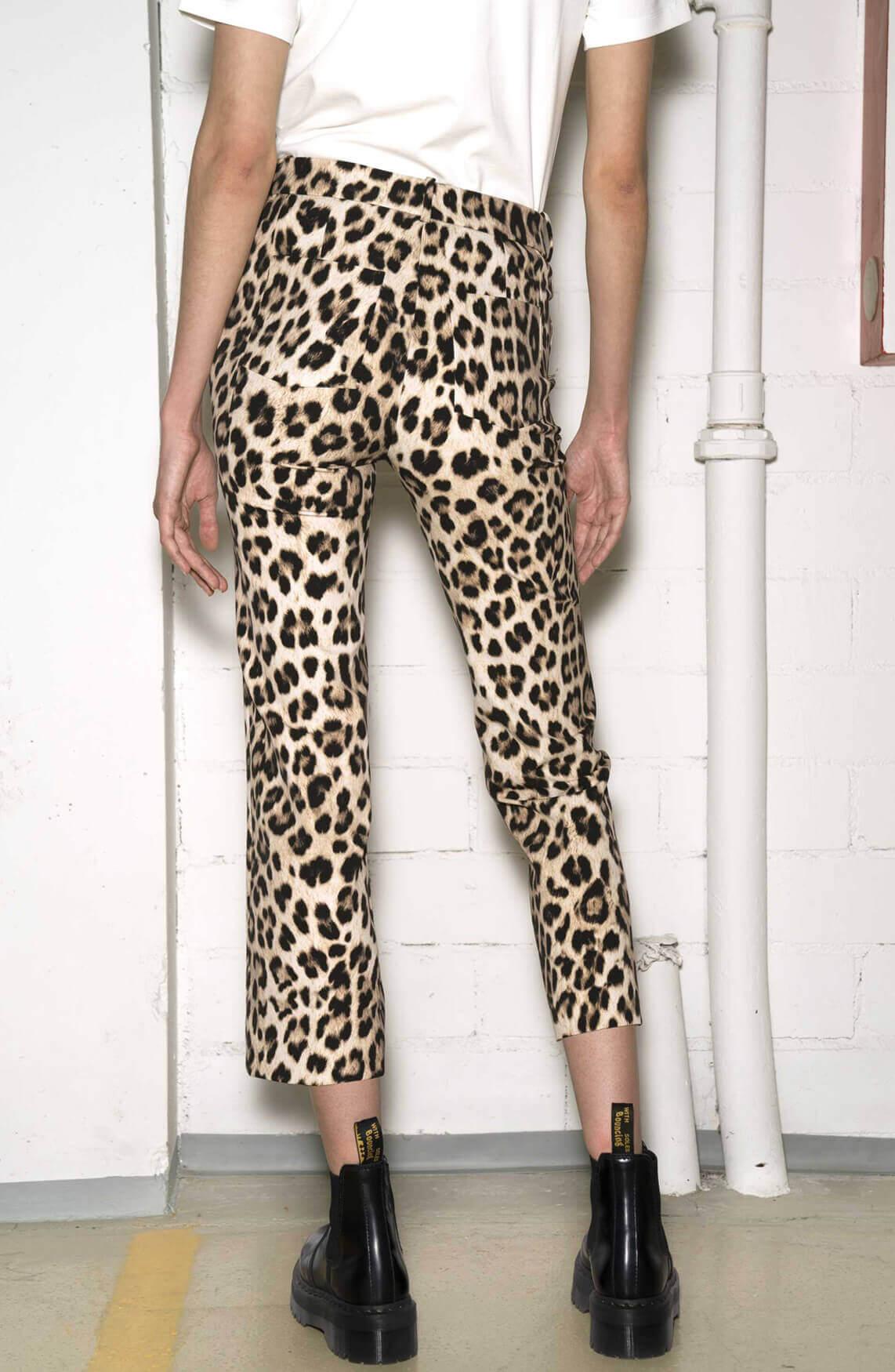 Drykorn Dames Basket panterprint pantalon Bruin