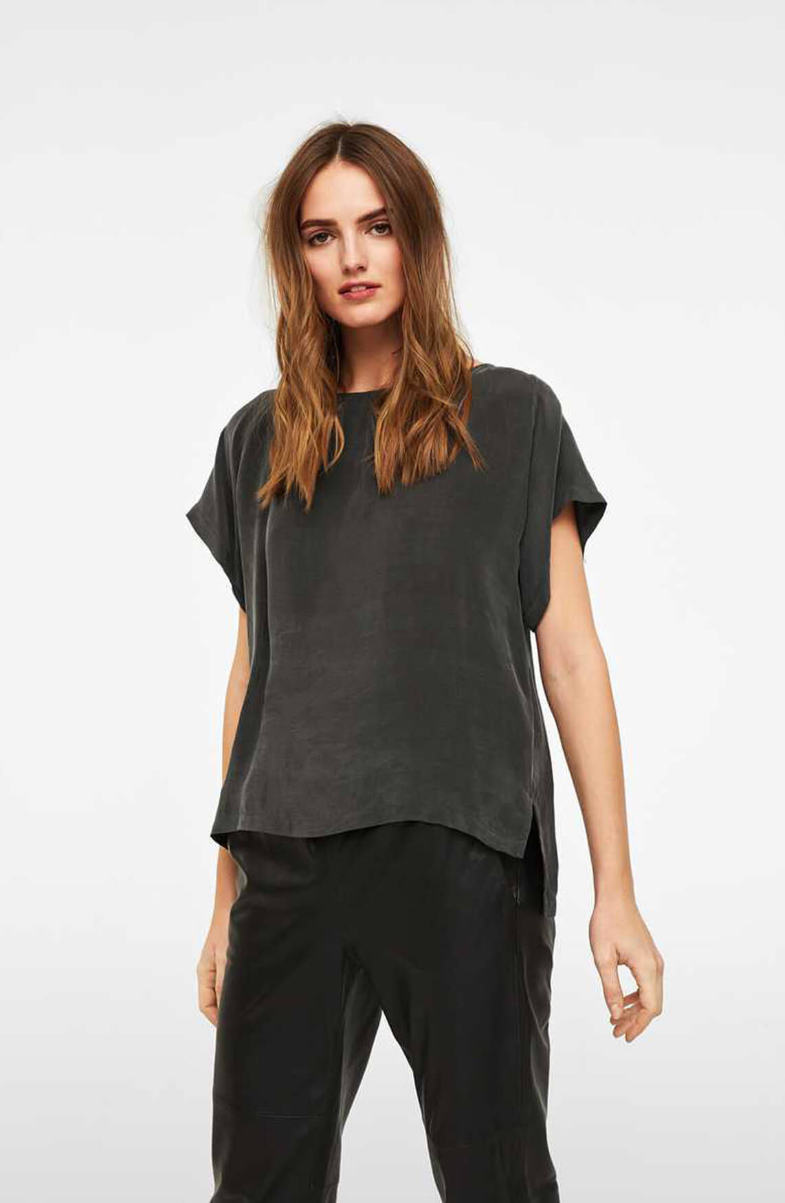 Drykorn Dames Somia cupro blouse Bruin