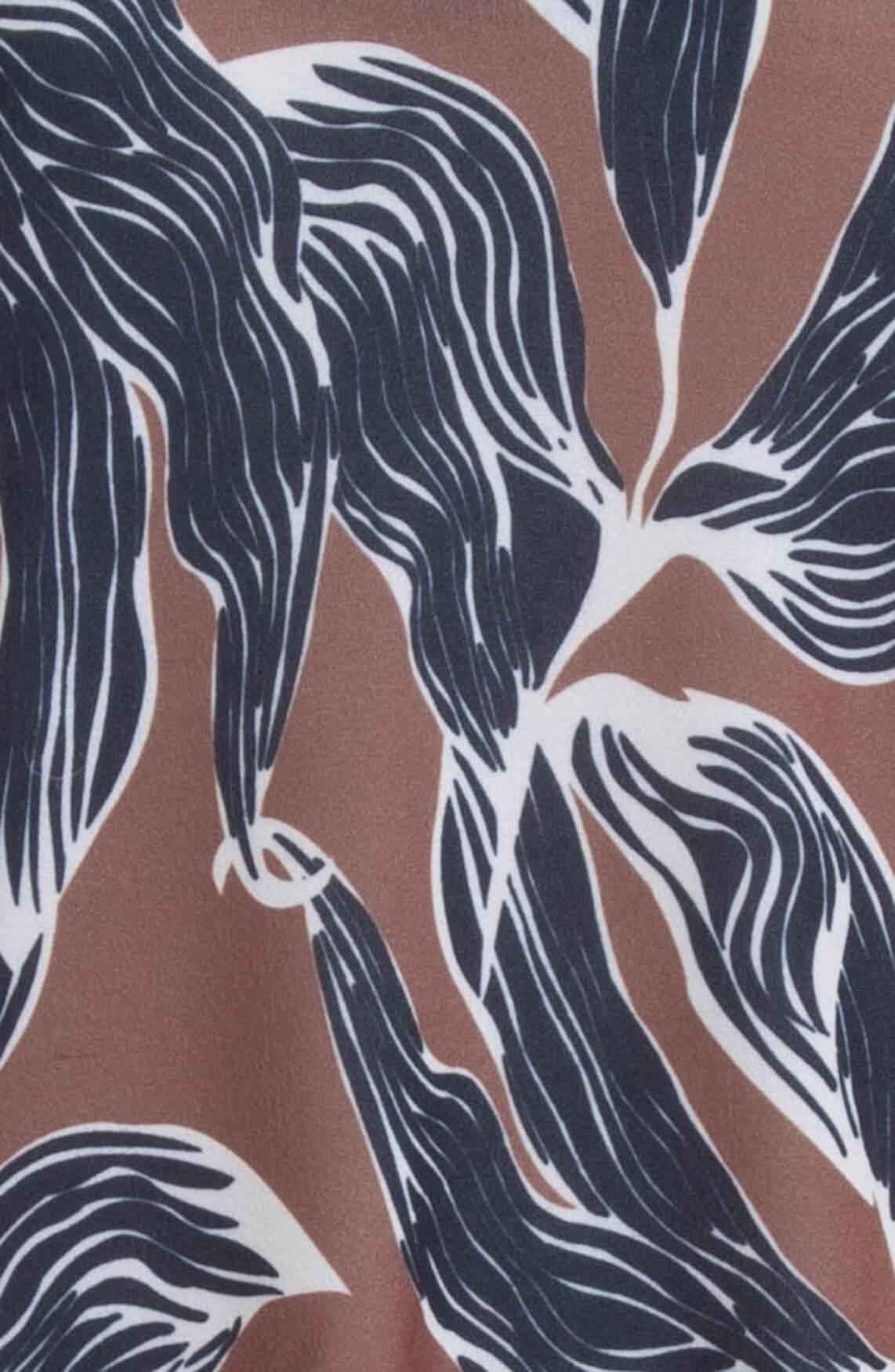 La Fée Maraboutée Dames Jurk met bladprint Bruin