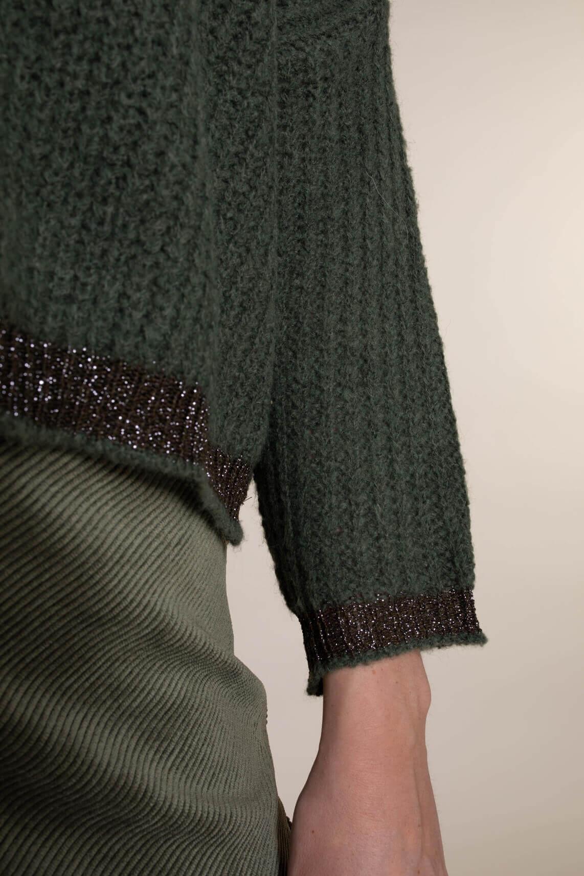 La Fée Maraboutée Dames Pullover met lurex groen