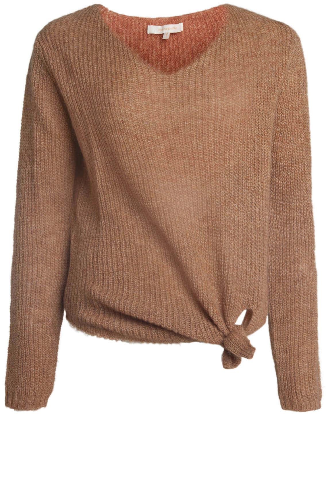 La Fée Maraboutée Dames Pullover met knoop Bruin