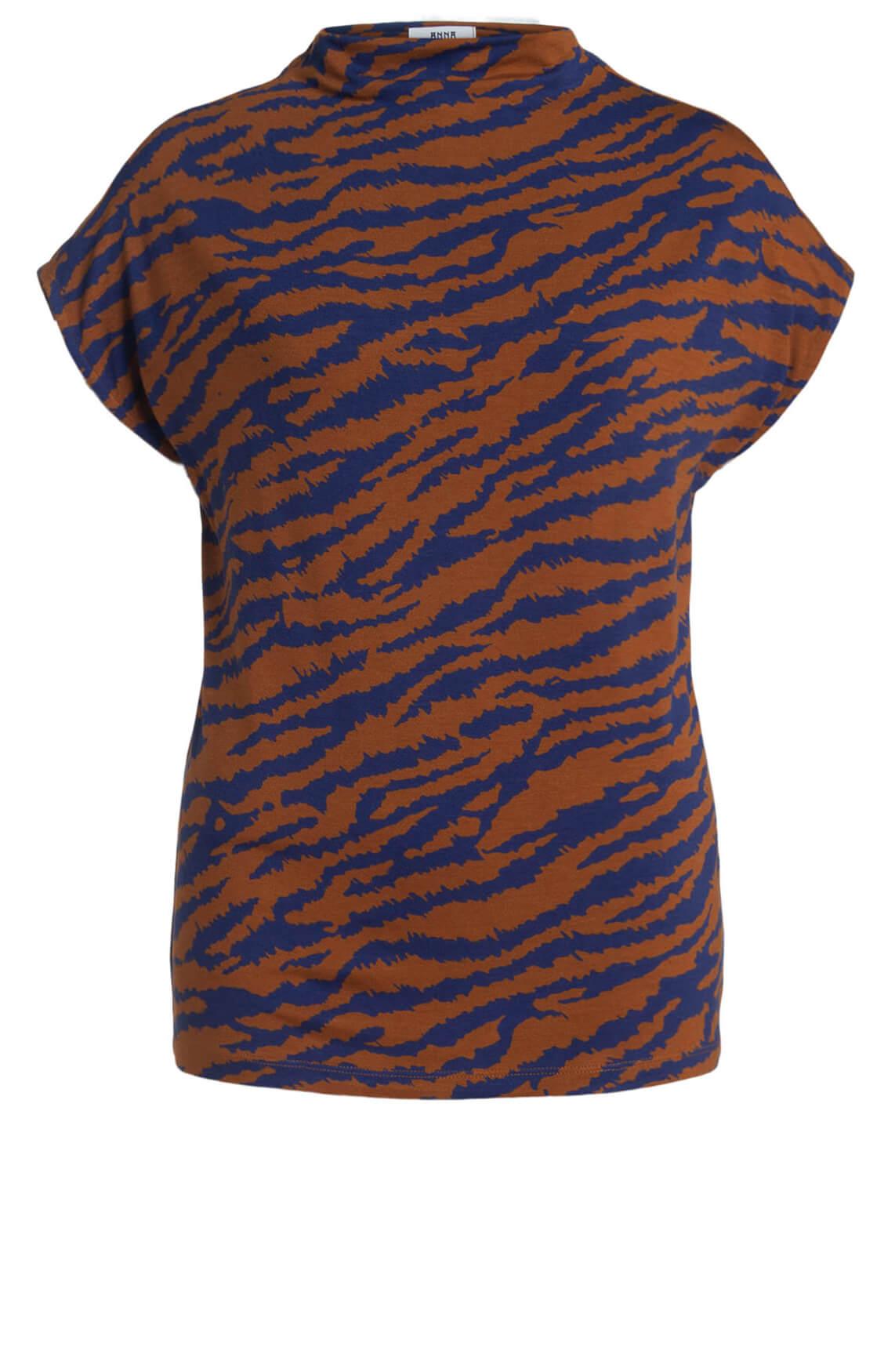 Anna Dames Shirt met animalprint Bruin