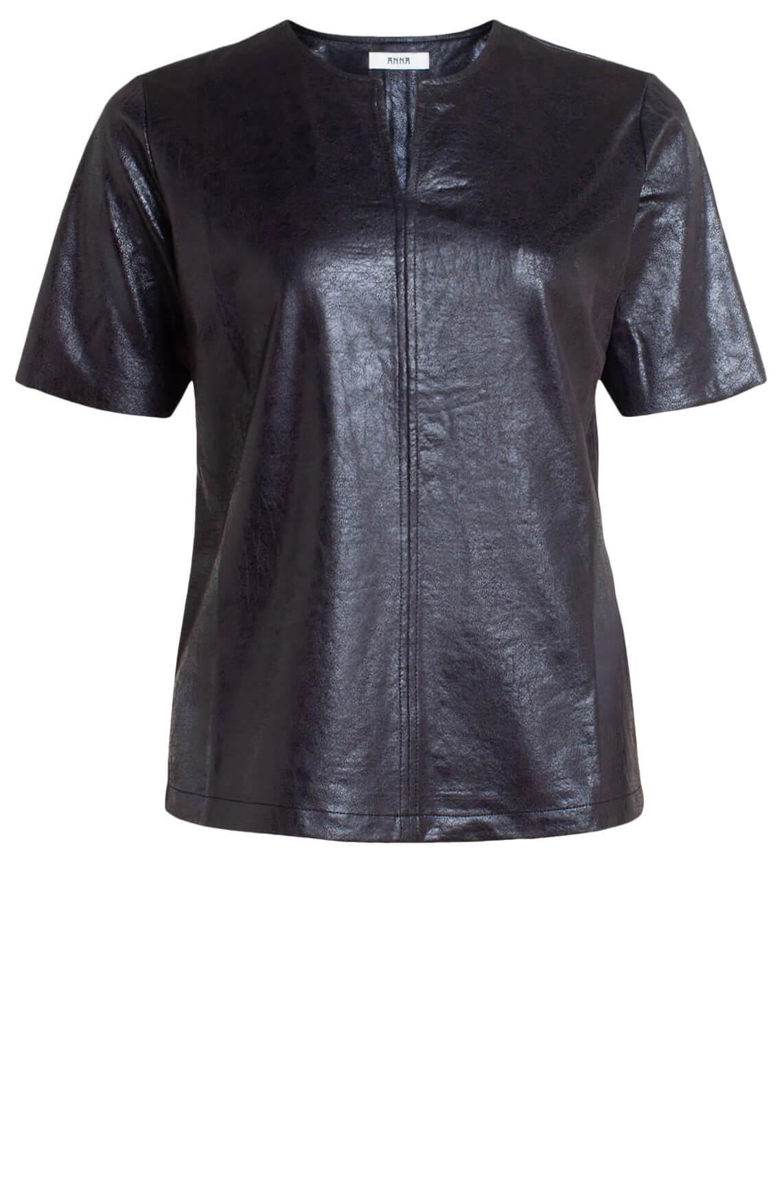Anna Dames Fake leather shirt zwart