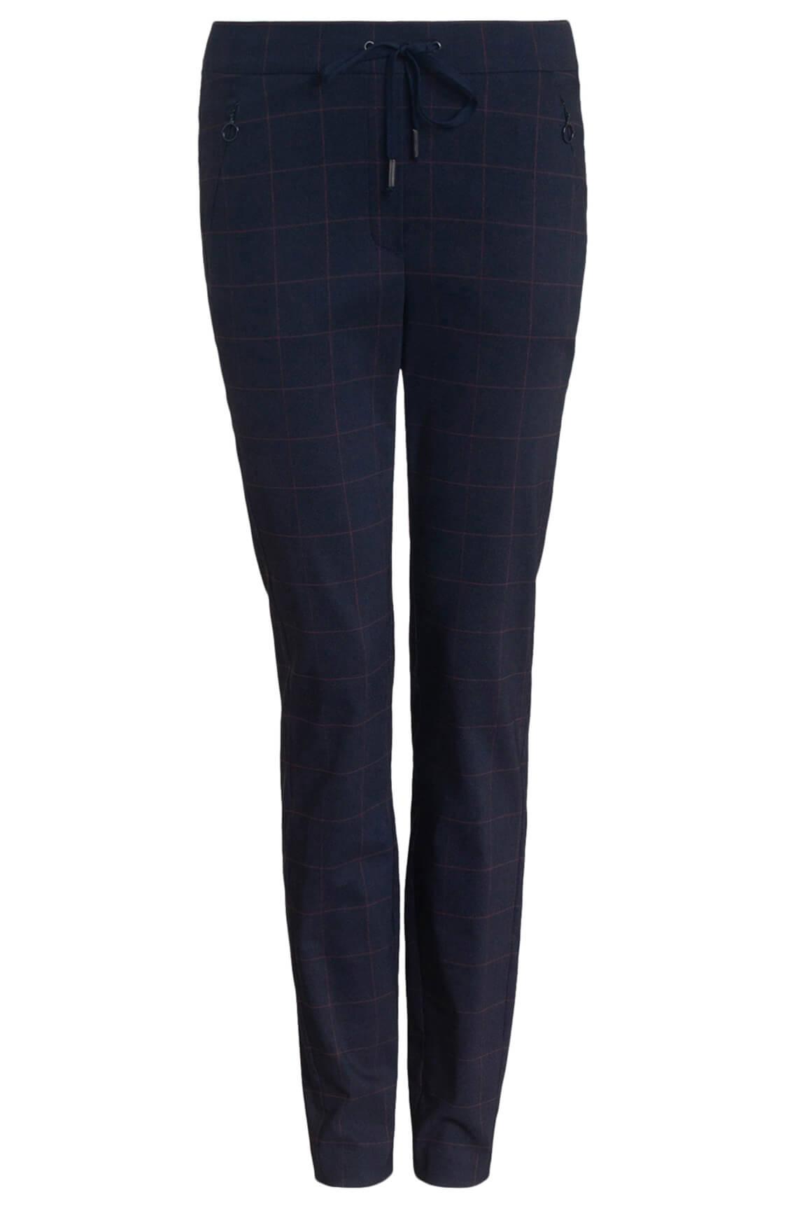 Anna Blue Dames Pantalon met ruit Blauw