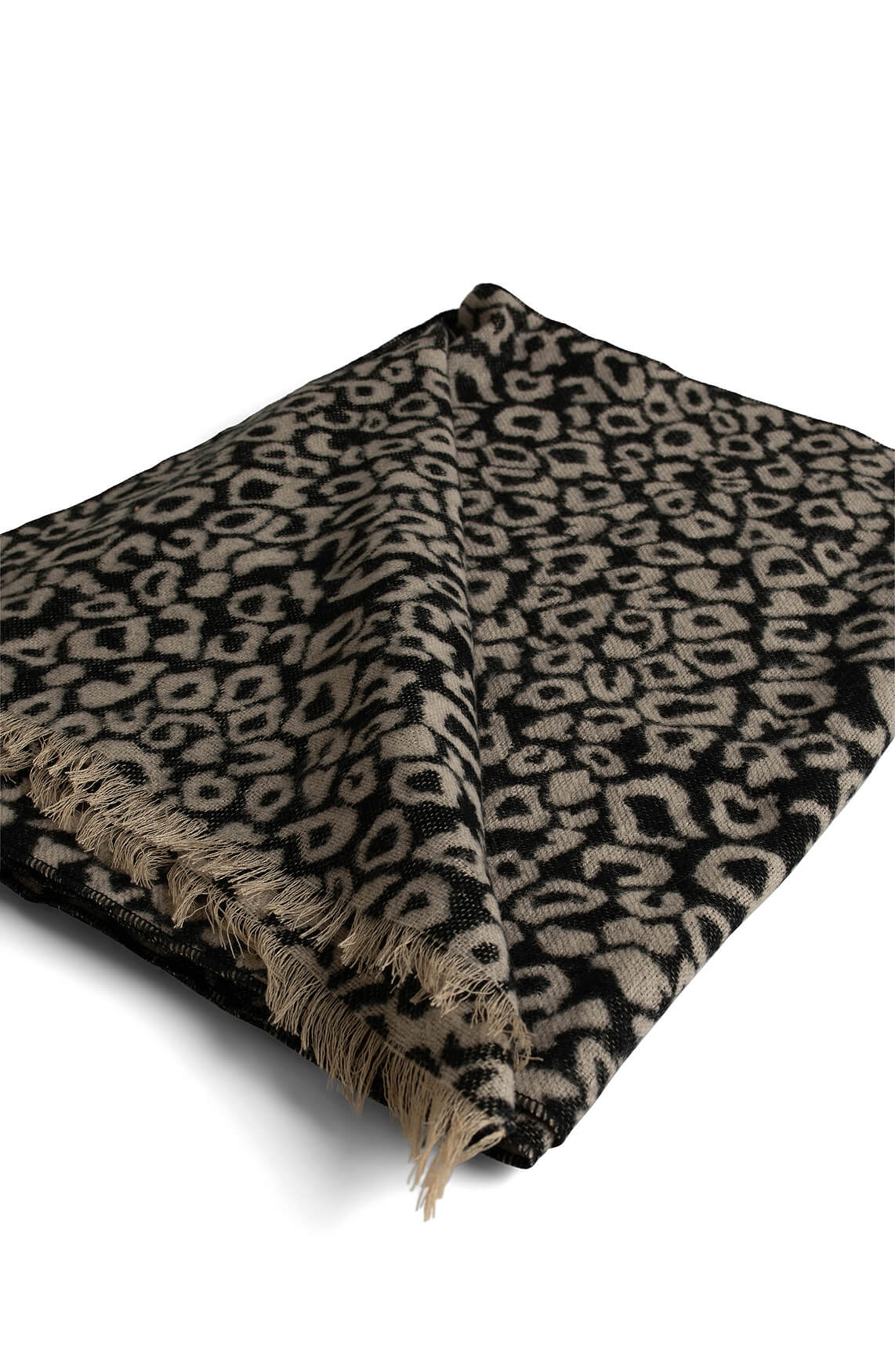 Anna Dames Panterprint shawl zwart