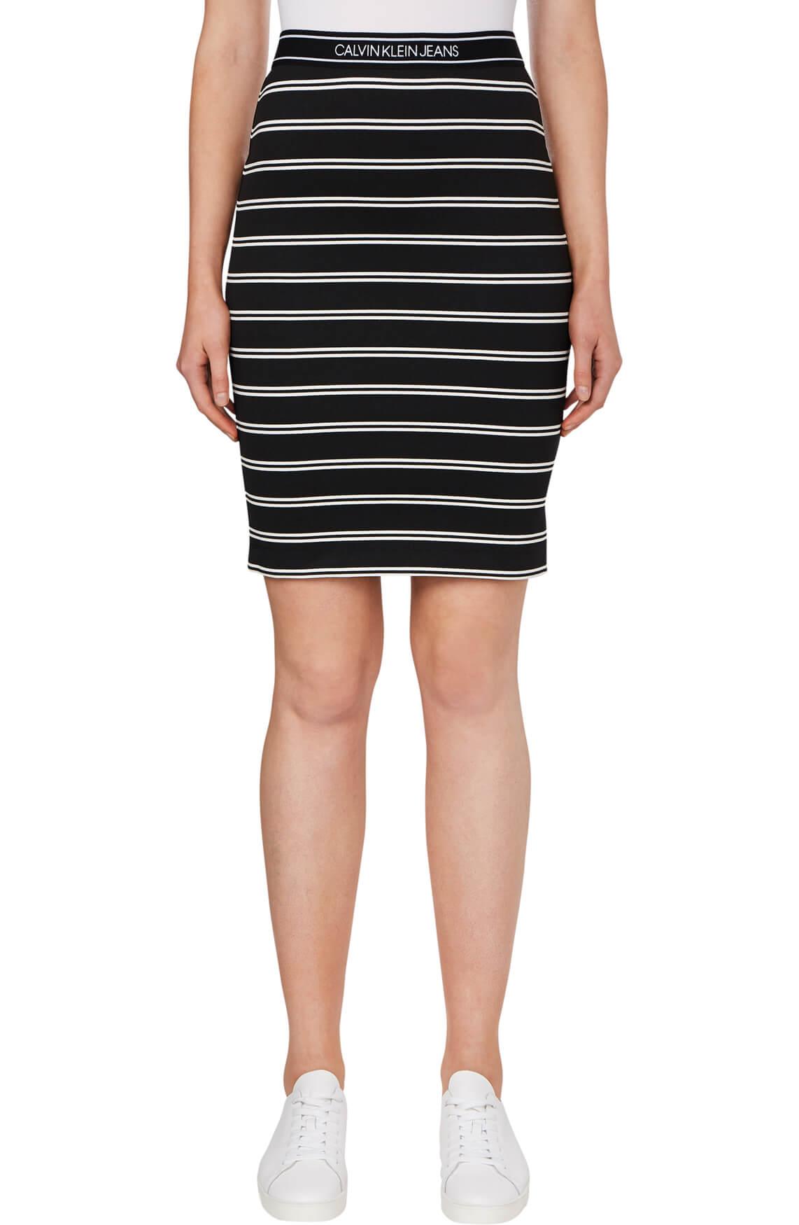 Calvin Klein Dames Gestreepte rok zwart