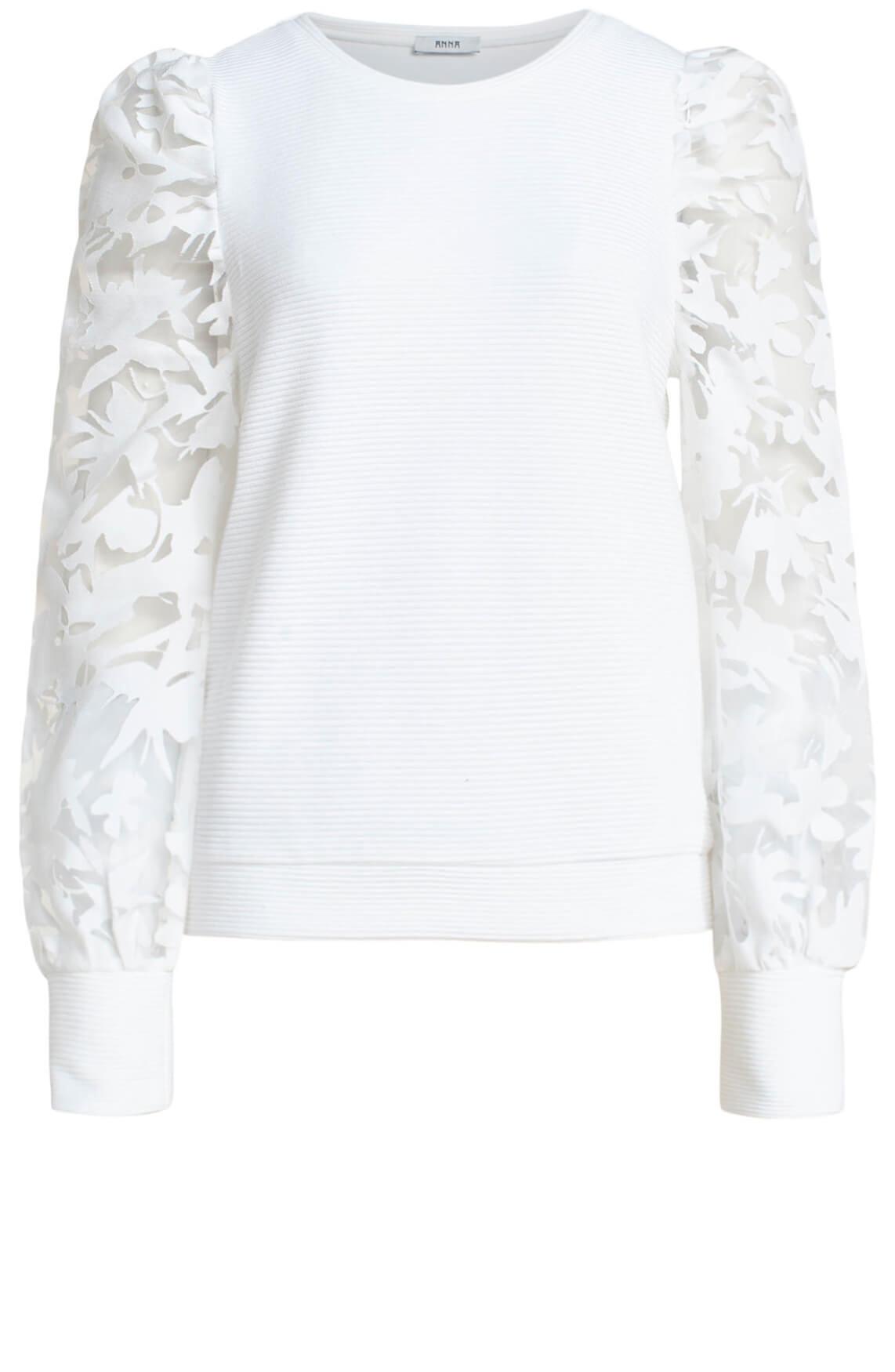 Anna Dames Sweatshirt met kant wit