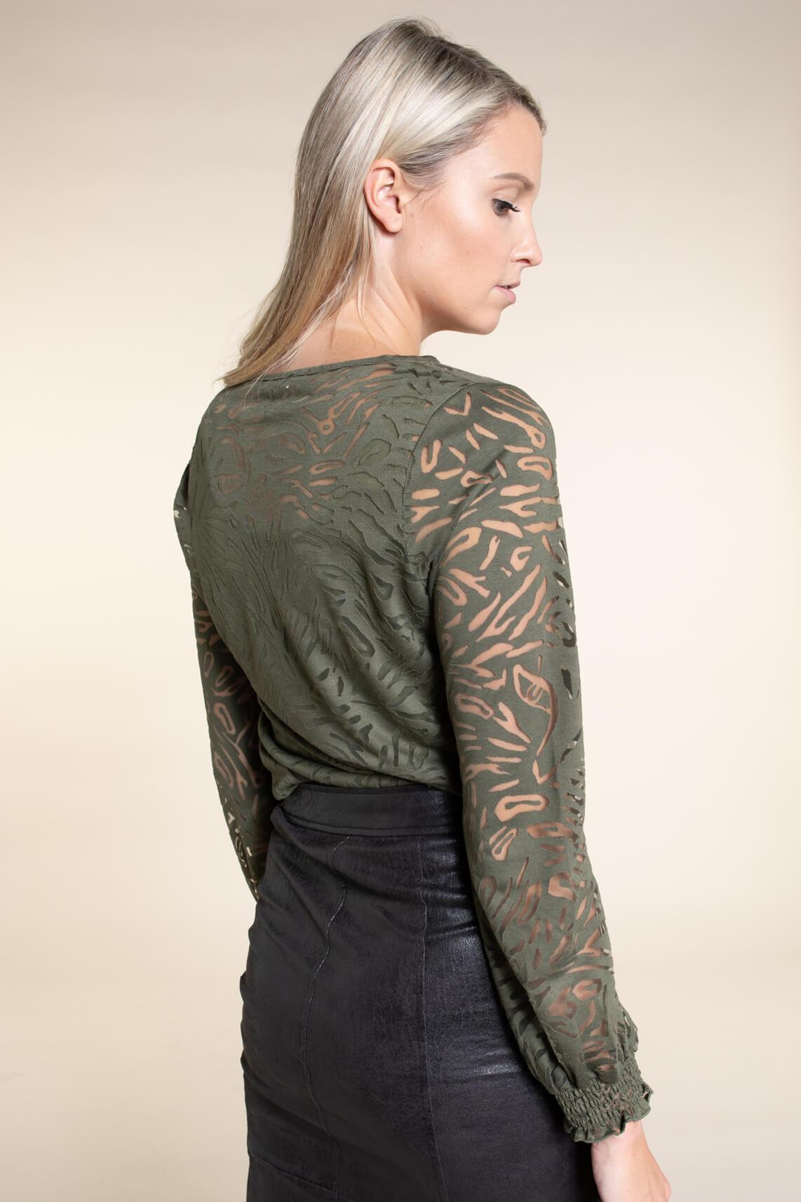 Anna Dames Blouse met mesh groen