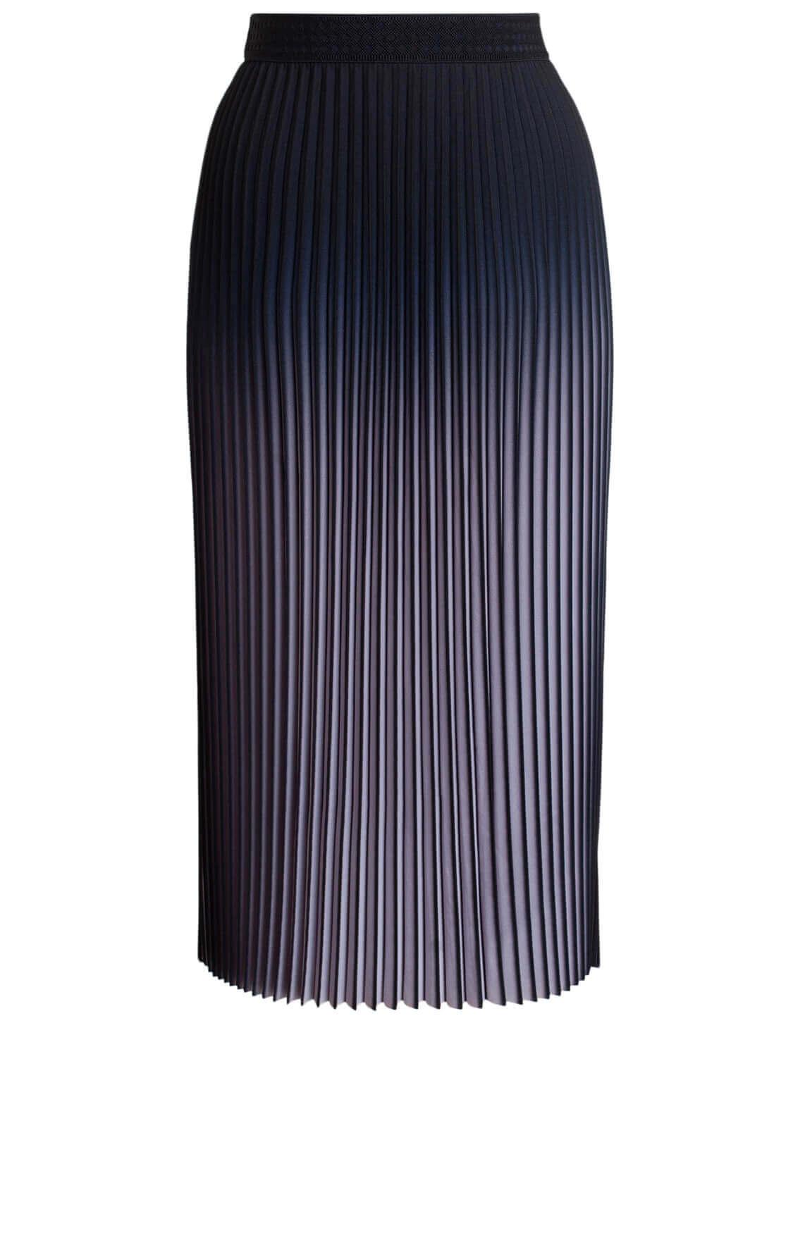 Anna Dames Plissé rok met kleurverloop zwart
