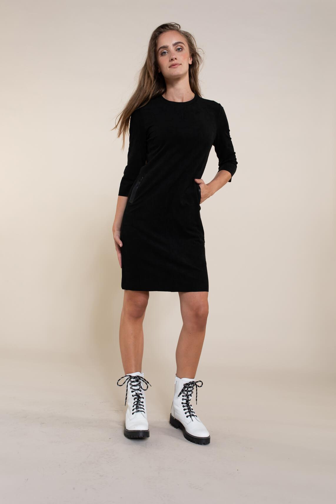 Anna Dames Vegan suède jurk zwart