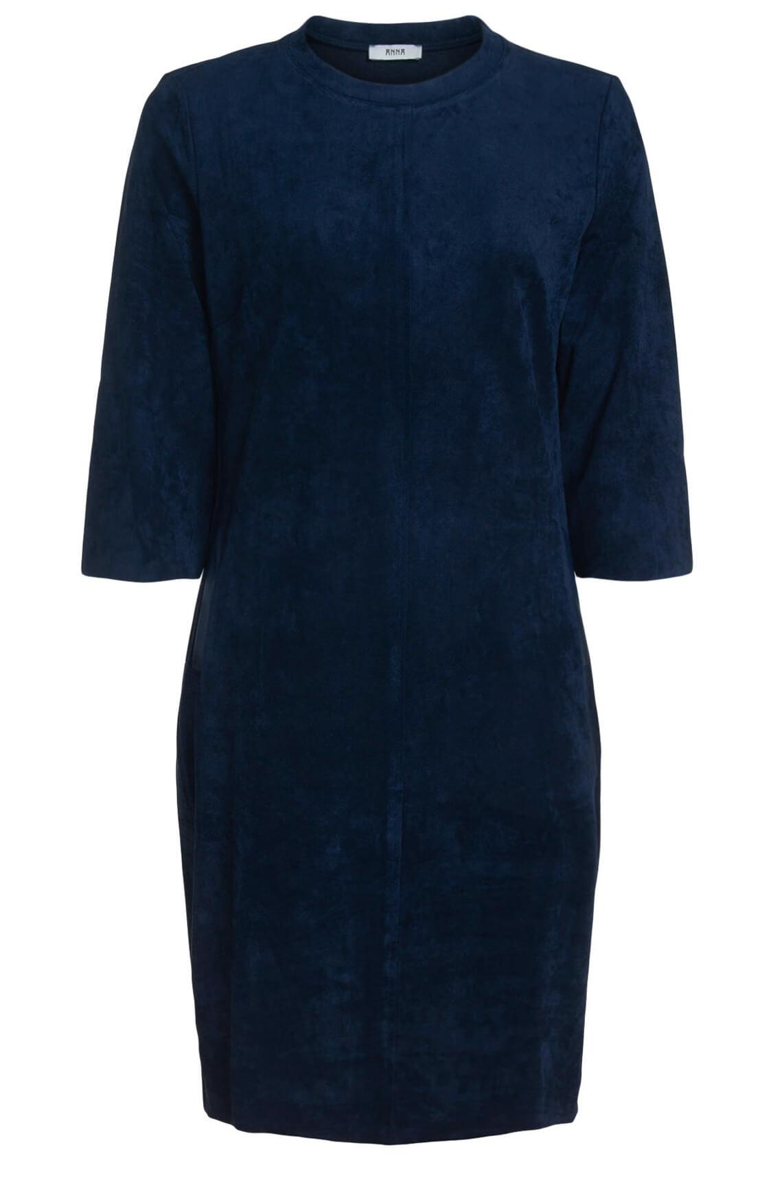 Anna Dames Vegan suède jurk Blauw