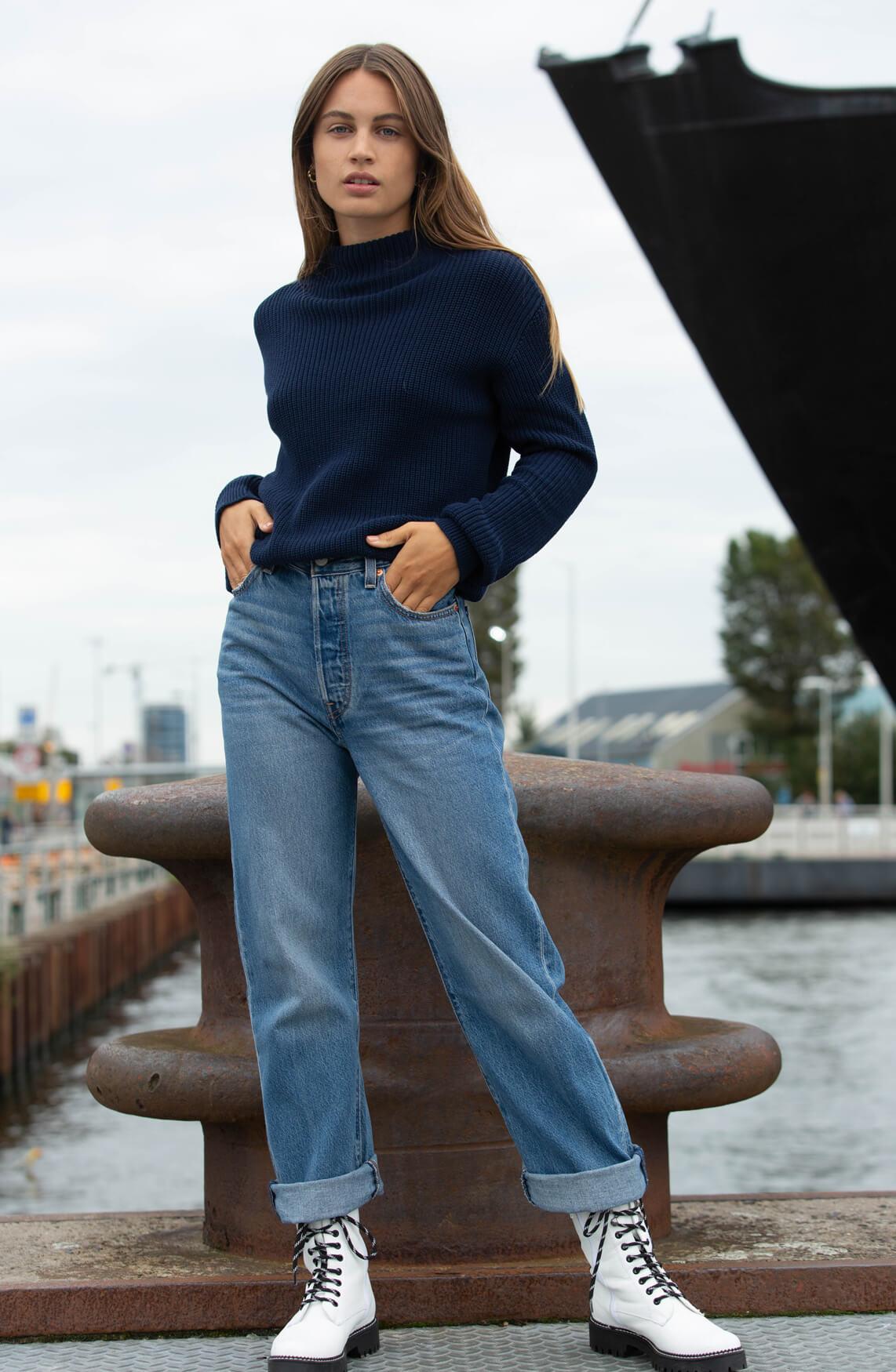 Anna Blue Dames Gebreide pullover Blauw