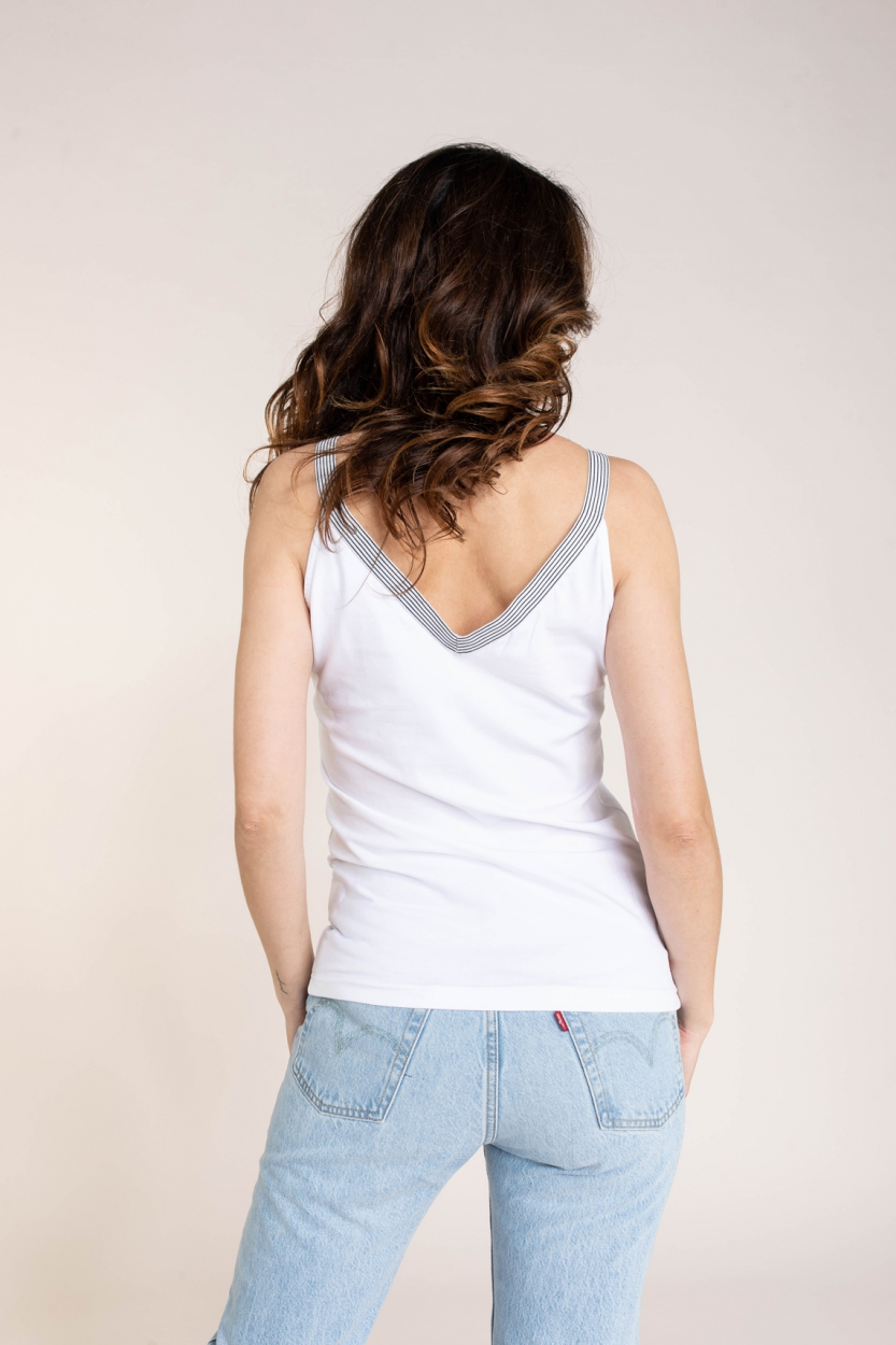 Anna Blue Dames Top met gestreepte bandjes Wit