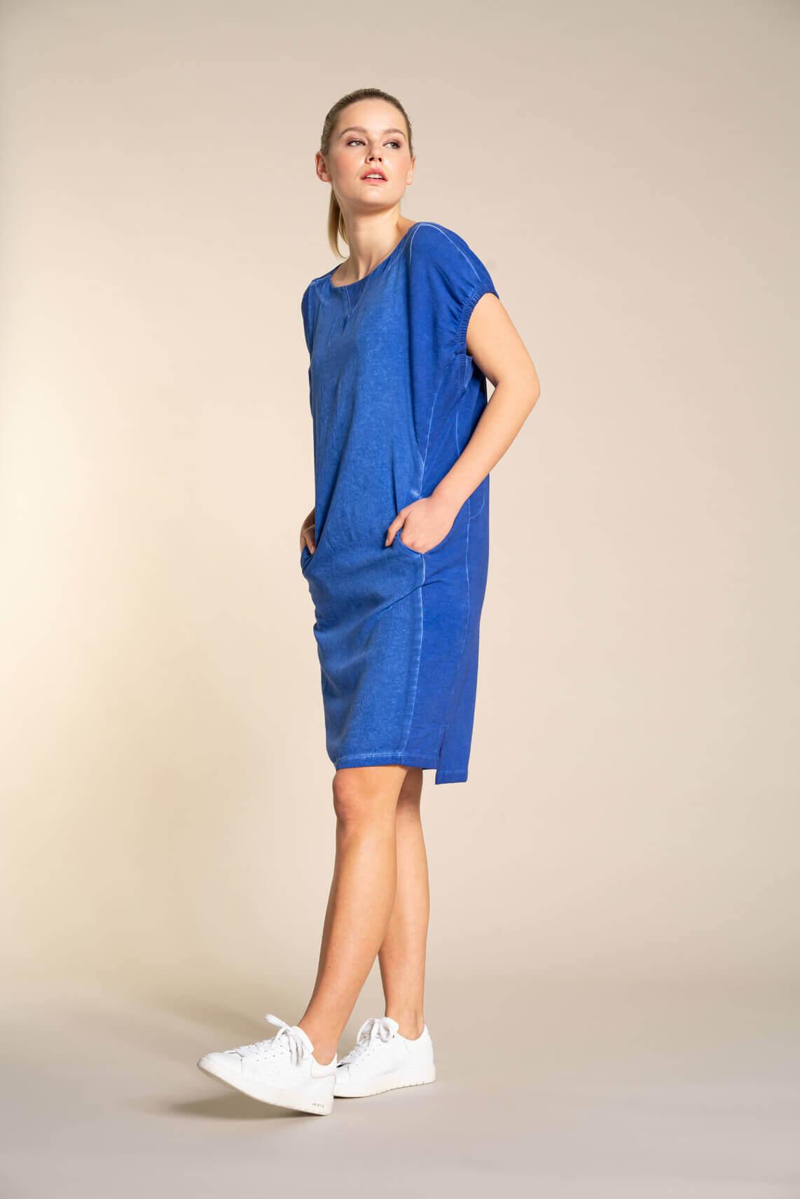 Anna Blue Dames Garment dye jurk Blauw