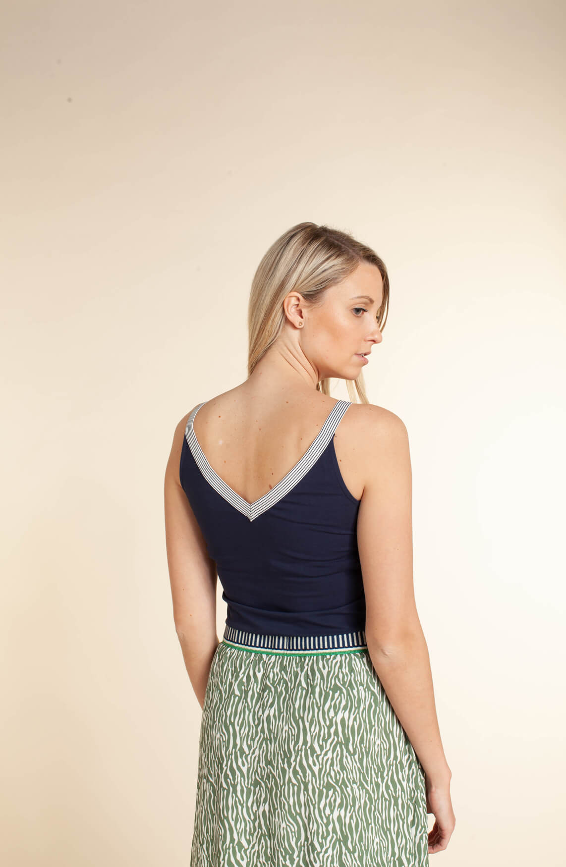 Anna Blue Dames Top Blauw