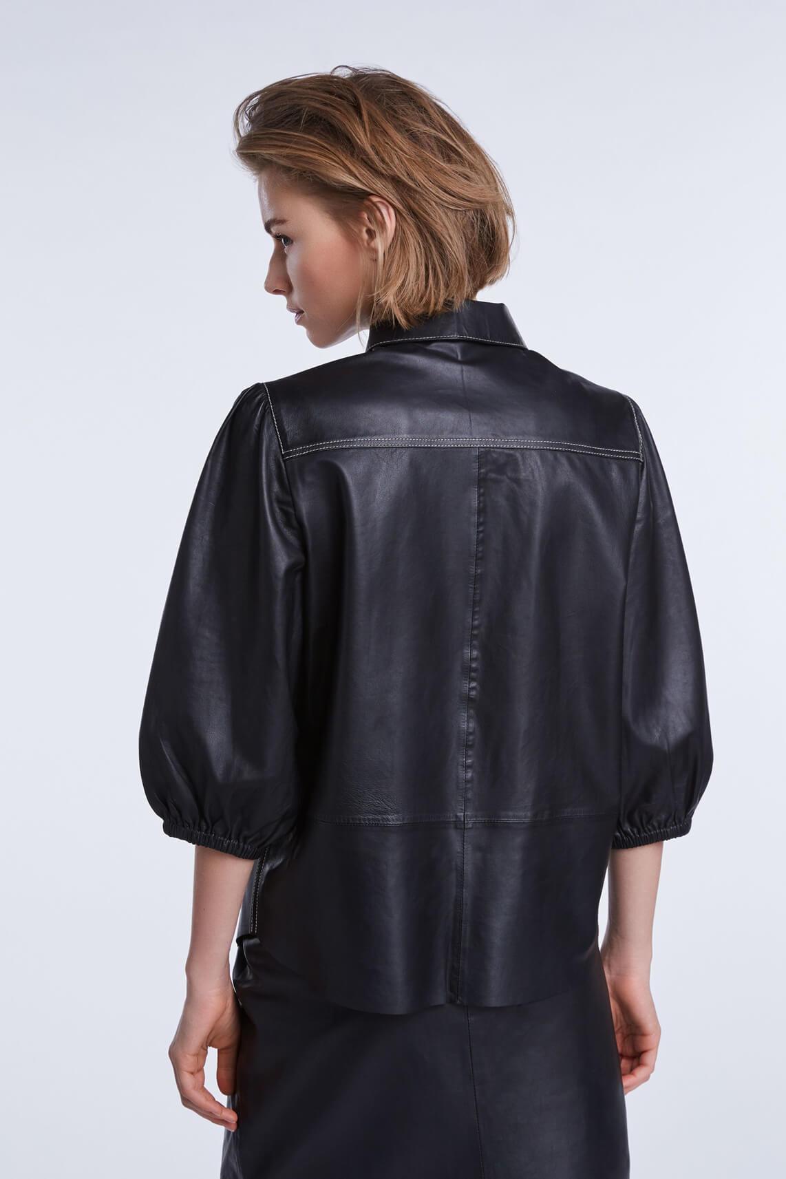 Set Dames Leren blouse zwart